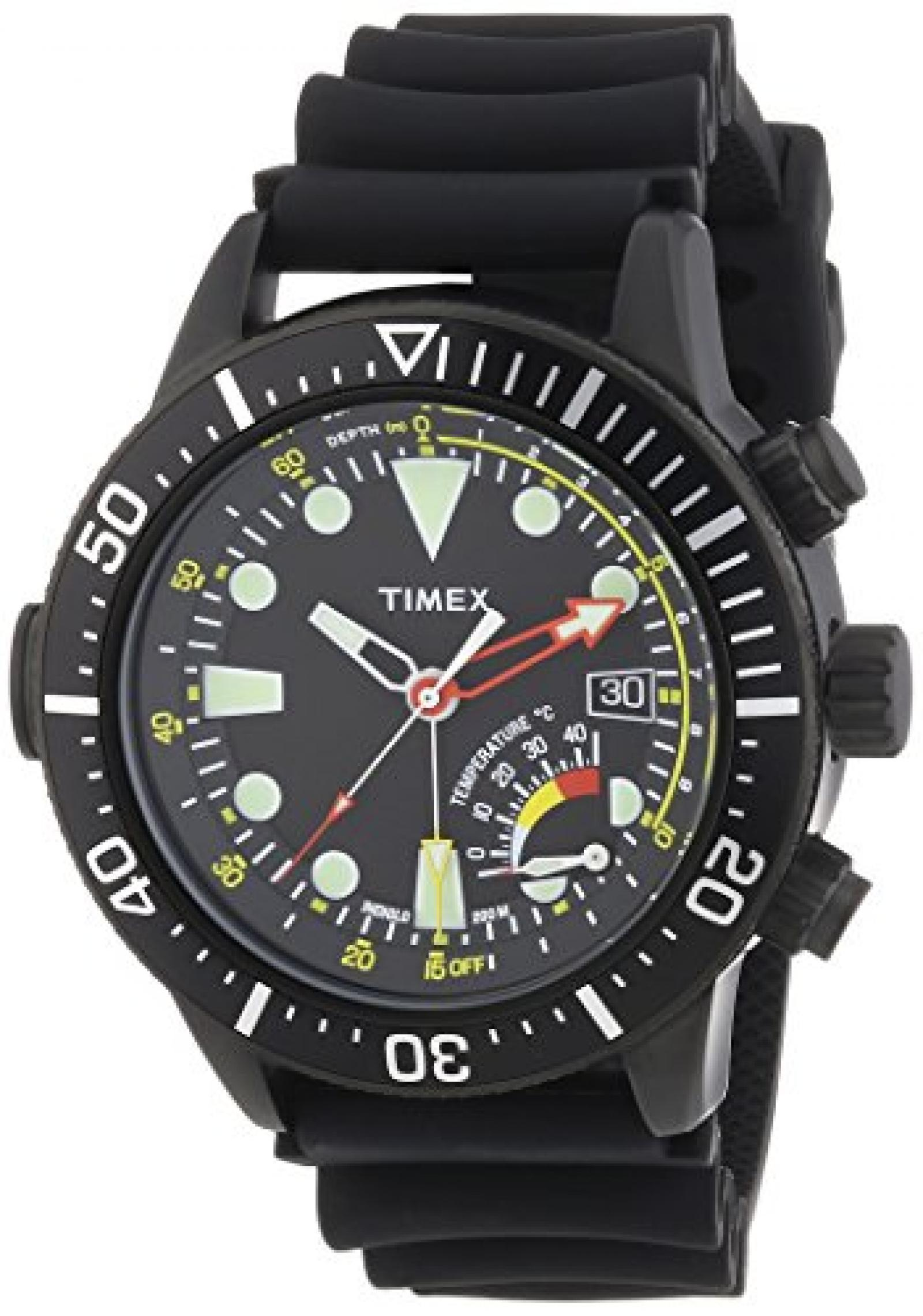 Timex Herren-Armbanduhr XL  Depth Gauge with IQ Analog Quarz Silikon T2P529