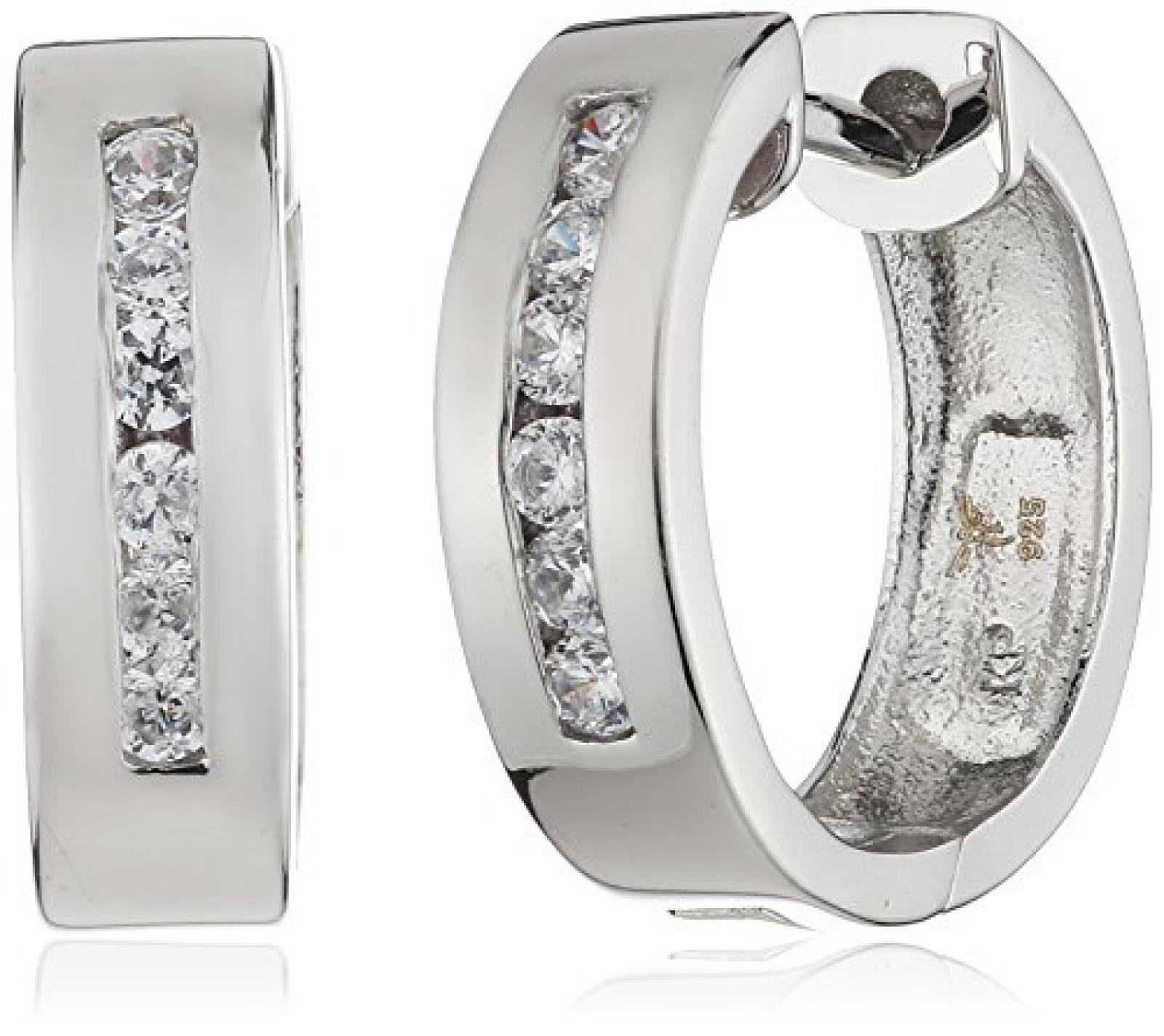 Celesta - Damenklappcreole aus 925er Sterling Silber und 12 weißen Zirkonias 360210141L
