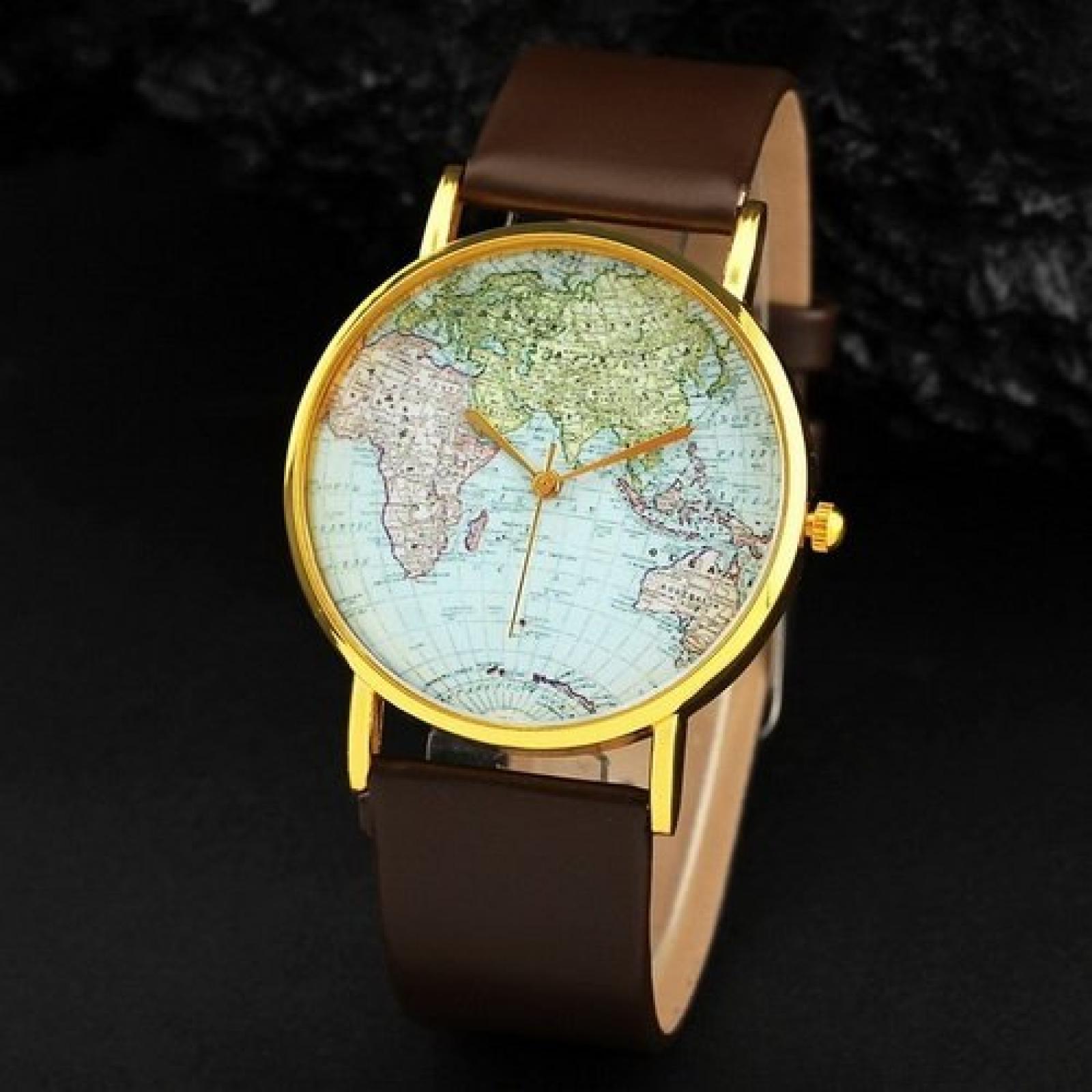 Retro Weltkarte Uhr Lederausstattung Leichtmetall Damen Analoge Quarz Armbanduhr Braun