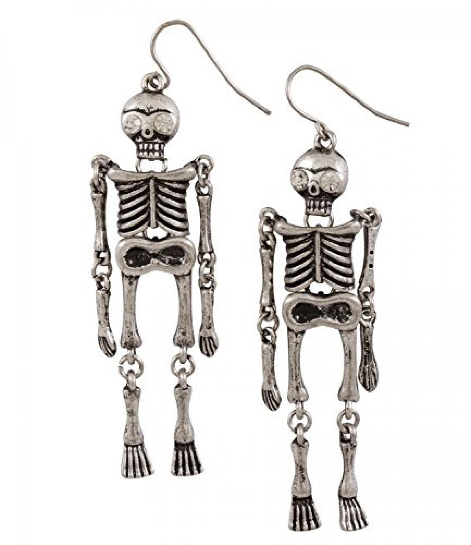 """SIX """"Halloween"""" silberne Skelett Ohrhänger mit weißem Strass (388-207)"""