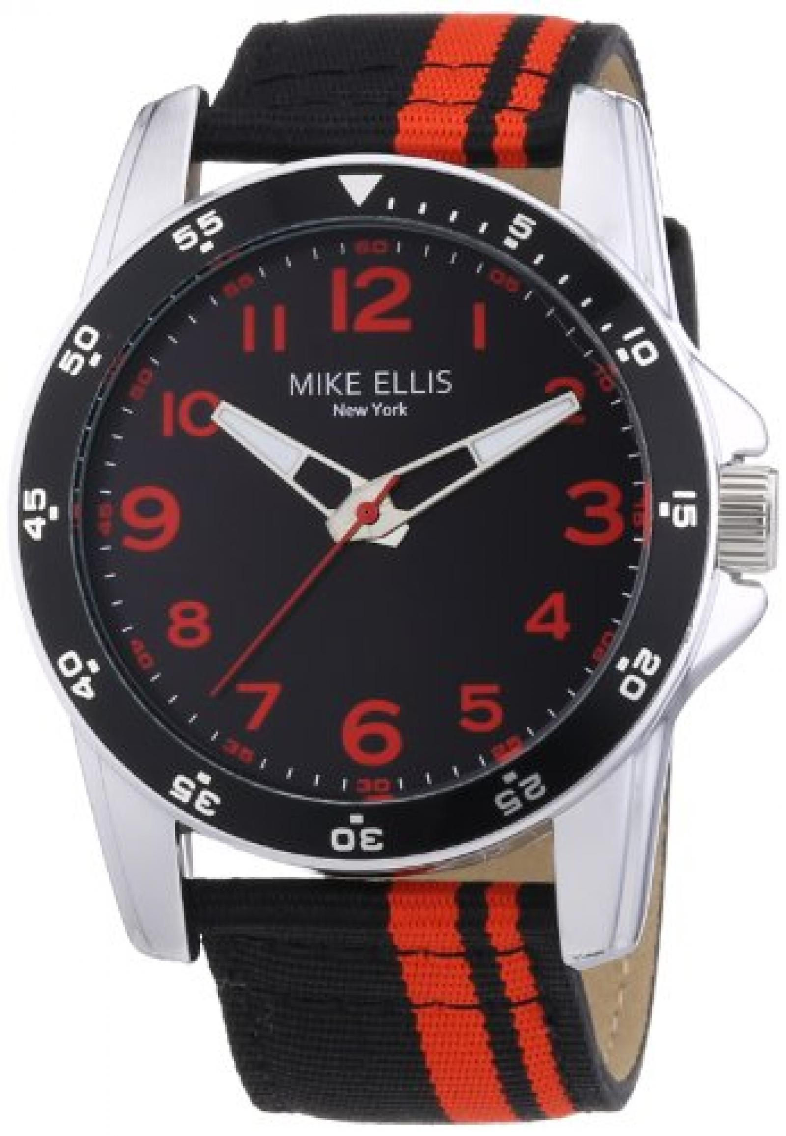 Mike Ellis New York Herren-Armbanduhr XL Analog Quarz Textil M3145/1