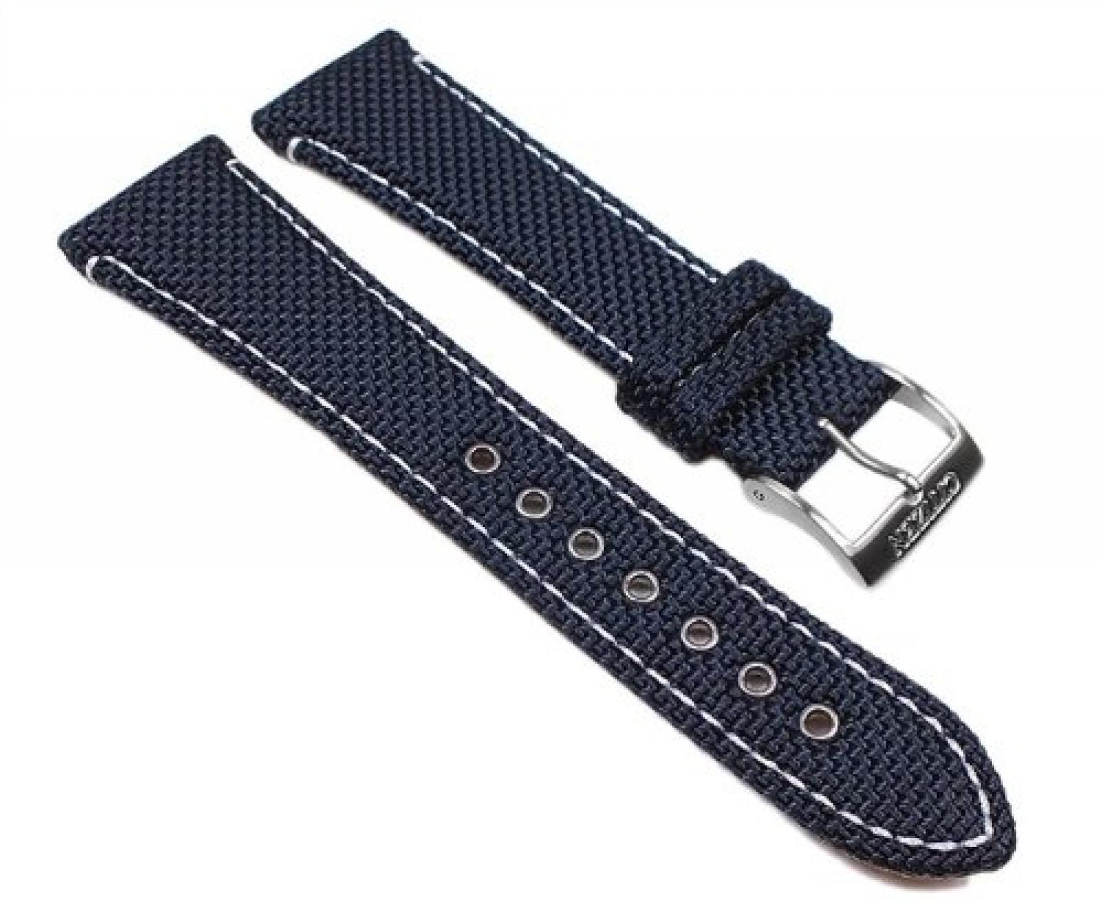 Citizen Marken Ersatzband Uhrenarmband Textil / Leder - Blau / Weiß 22mm für u.a BM6686-21A