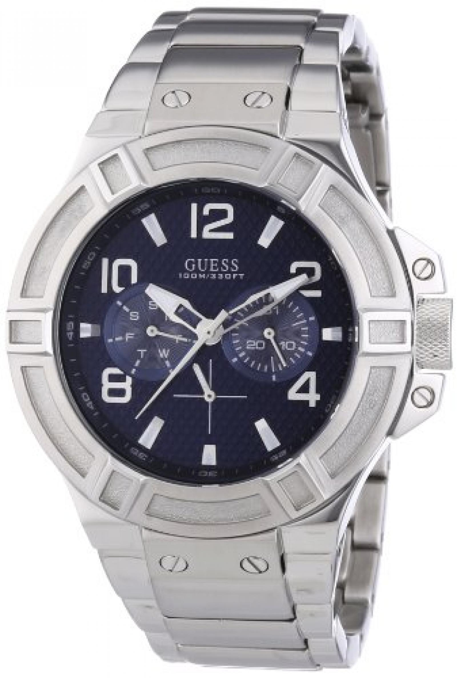 Guess Herren-Armbanduhr XL Analog Quarz Edelstahl W0218G2
