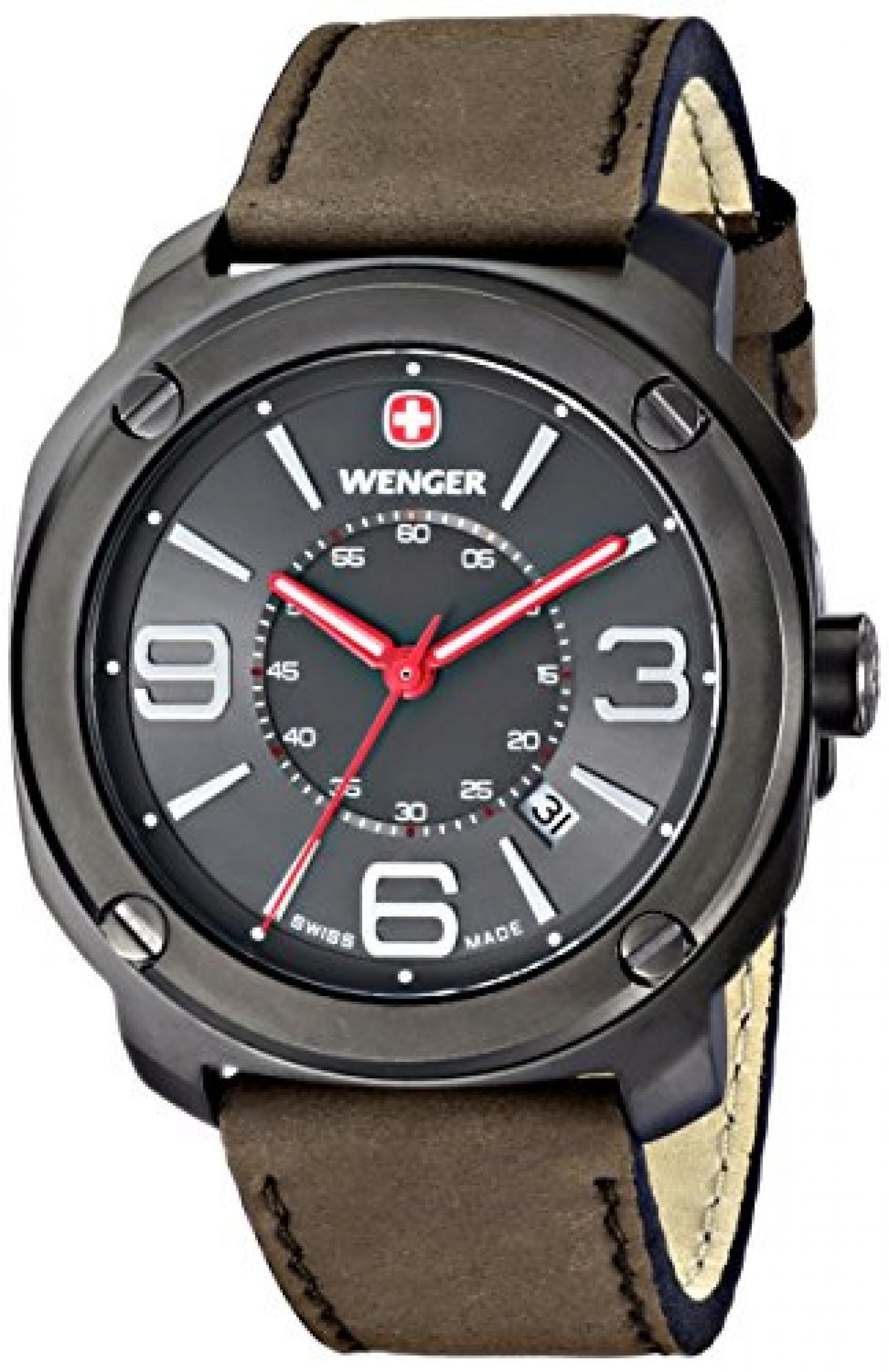 Wenger Herren-Armbanduhr XL Escort Analog Quarz Leder 01.1051.104