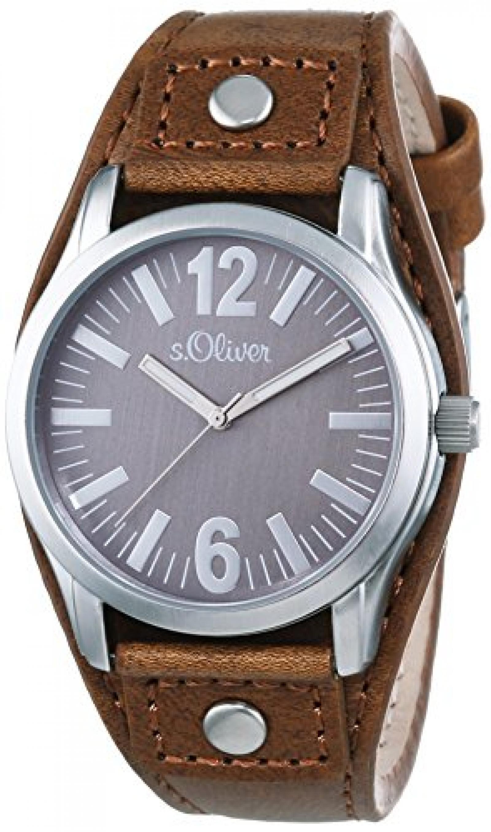s.Oliver UNISEX-Armbanduhr Analog Quarz Leder SO-2936-LQ