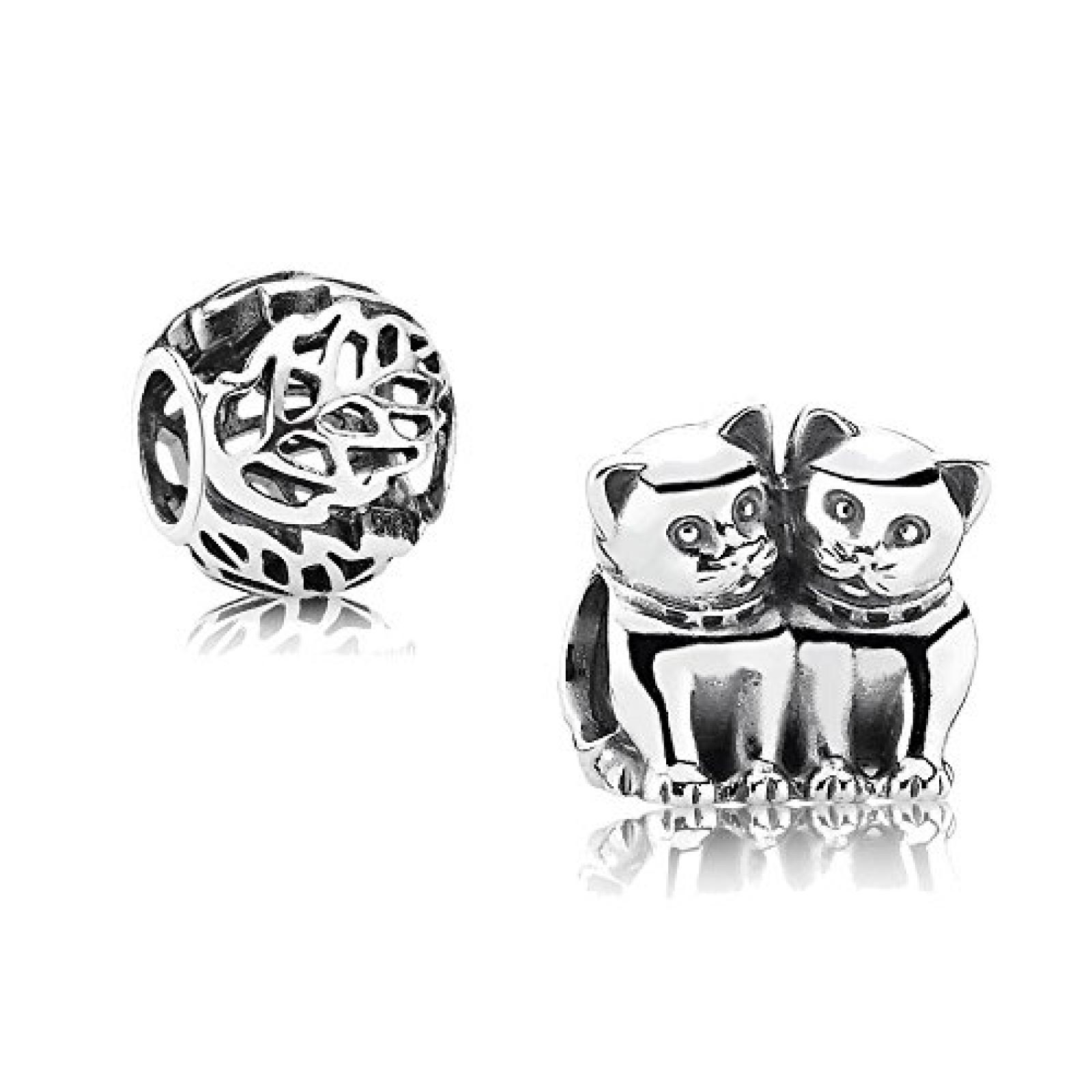 Original Pandora Geschenkset - 1 Silber Element Verliebte Kätzchen 791119 und 1 Filigranes Silber Element Durchbrochene Blätter 791190