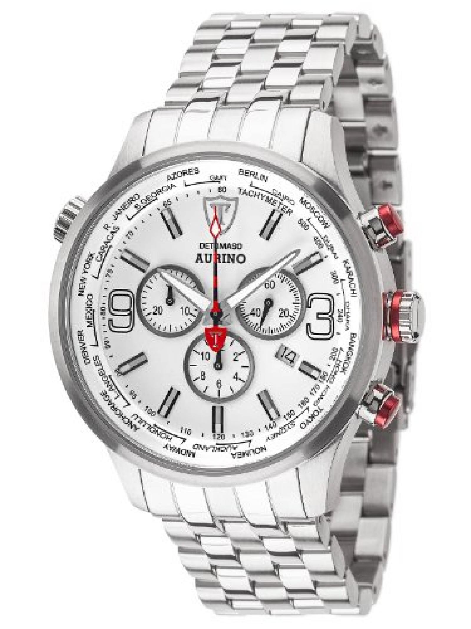 Detomaso Herren-Armbanduhr XL AURINO Chronograph Silver/White Chronograph Quarz Edelstahl DT1061-D