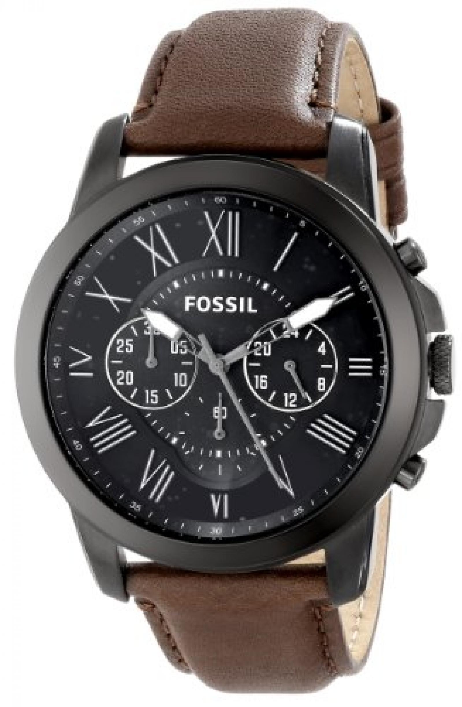 Fossil Herren-Armbanduhr XL Chronograph Quarz Leder FS4885