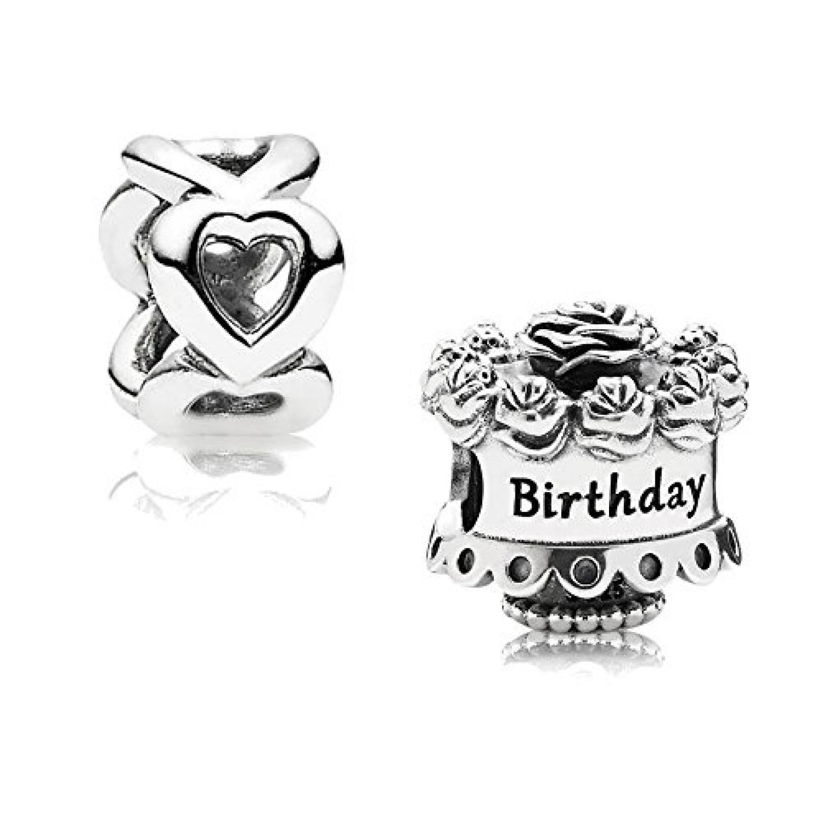 Original Pandora Geschenkset - 1 Silber Element Happy Birthday 791289 und 1 Silber Zwischenelement Offene Herzen 790454