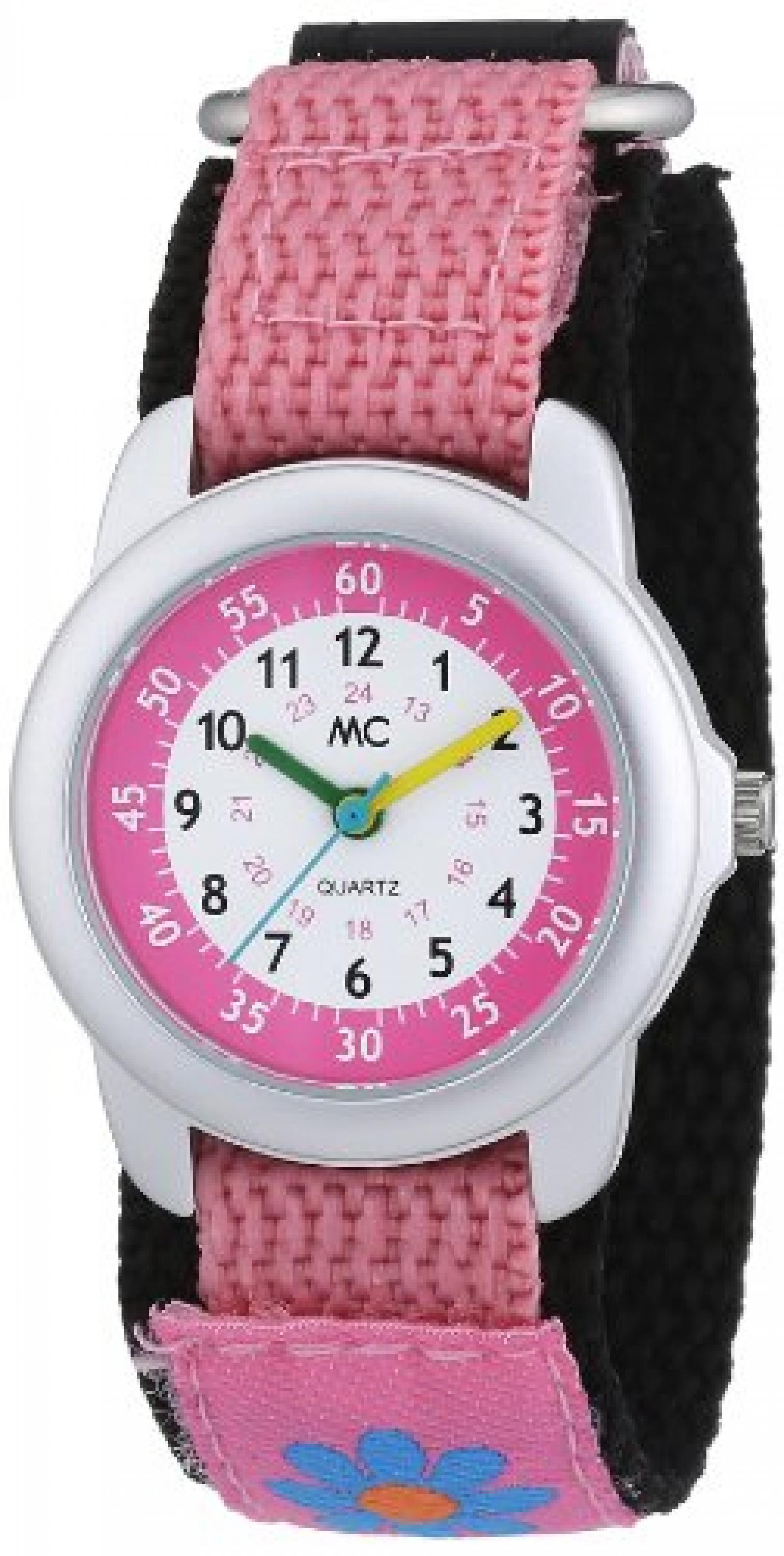 MC Timetrend Mädchen-Armbanduhr Blume Lernuhr Quarz Textil 50872