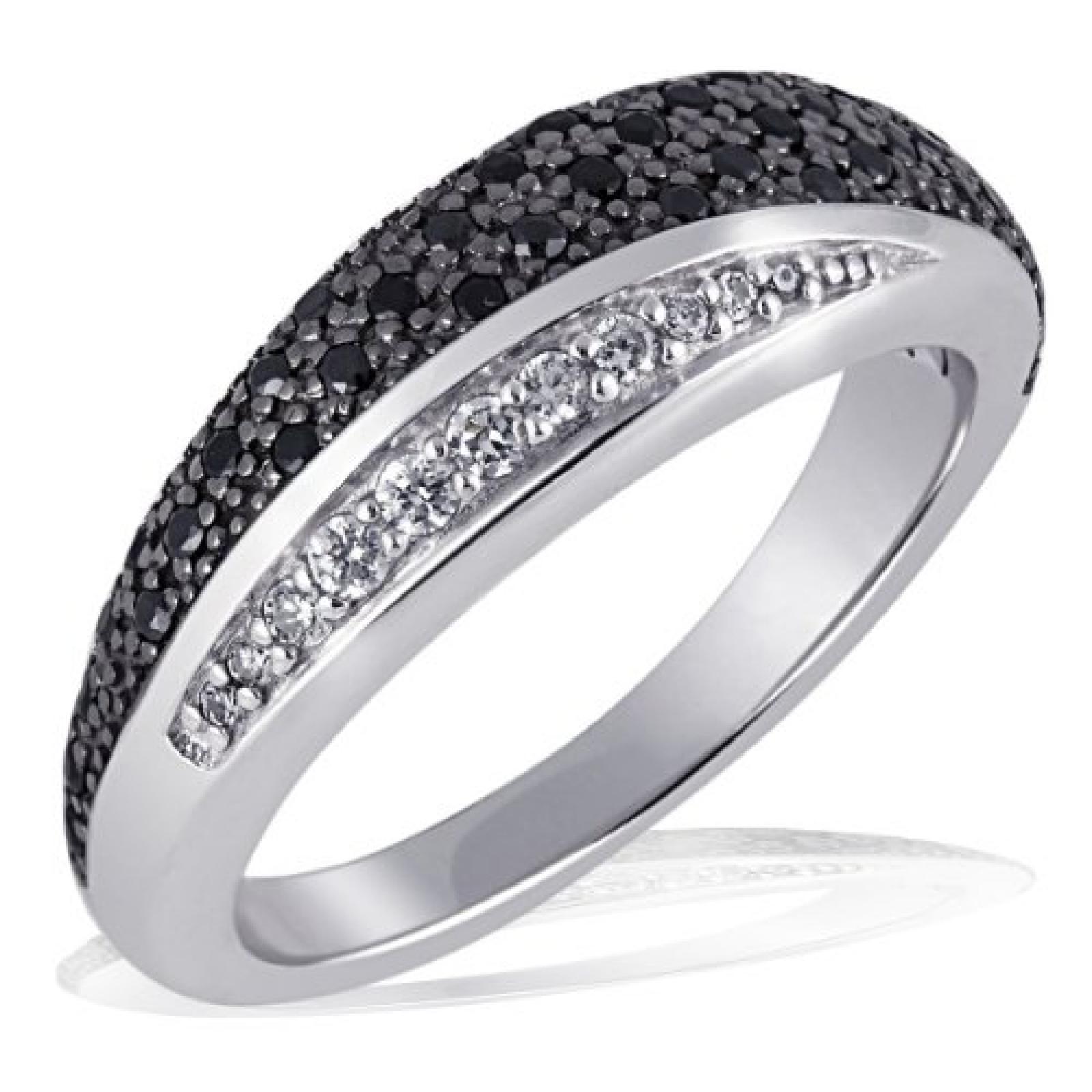 Goldmaid Damen-Ring 925 Sterlingsilber 8 weisse 42 schwarze Zirkonia Pavee Pa R4173S