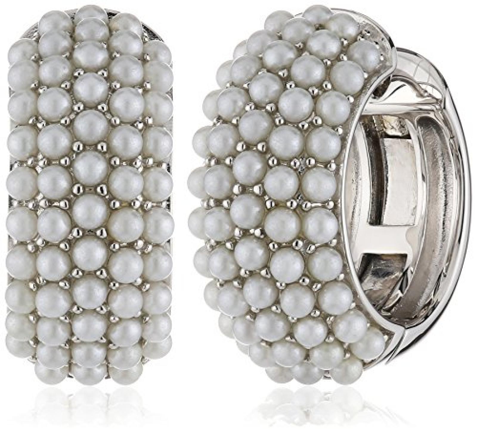 Joop Damen-Ohrclips 925 Sterling Silber rhodiniert Kunststoff Perlmutt Diane weiß JPCO90145A000
