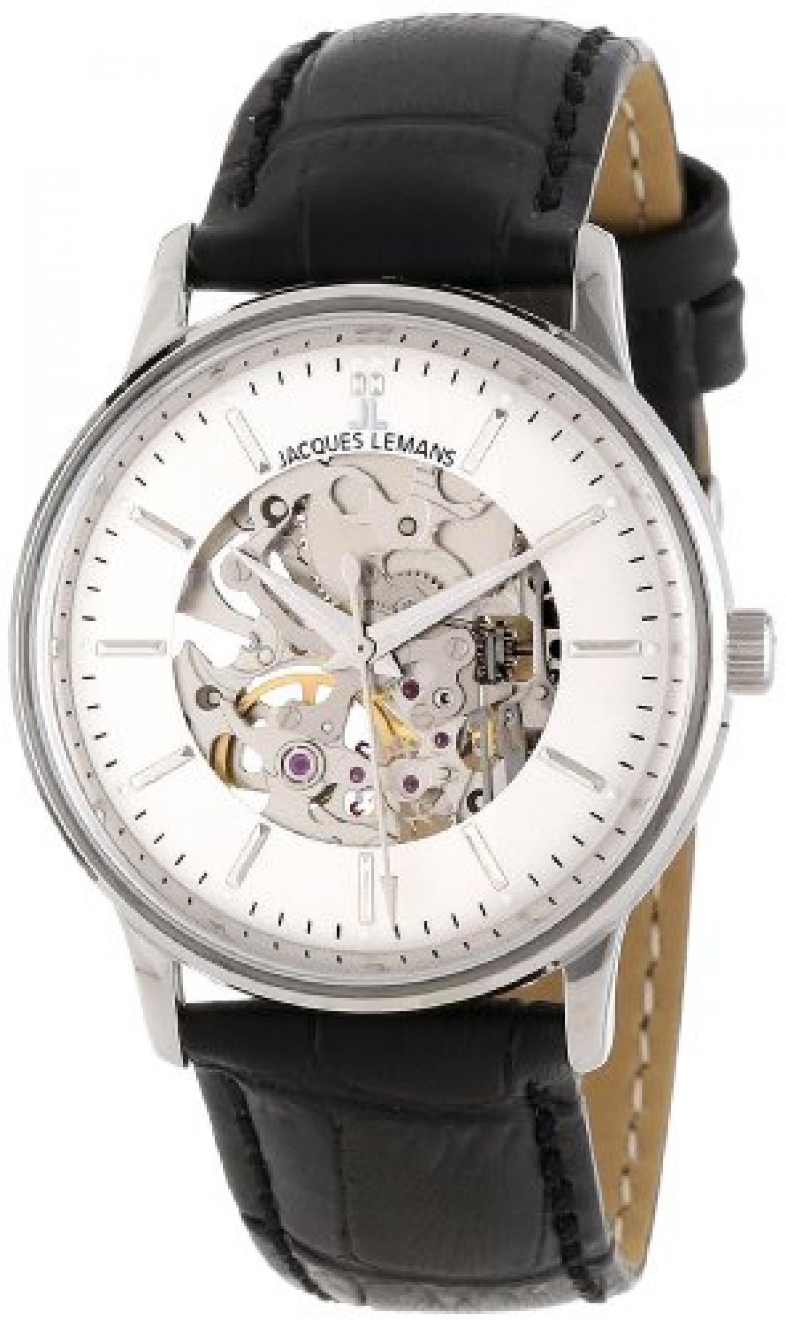 Jacques Lemans N-207A NOSTALGIE Mechanisch Damen Uhr Damenuhr Lederarmband Edelstahl 50m Analog schwarz