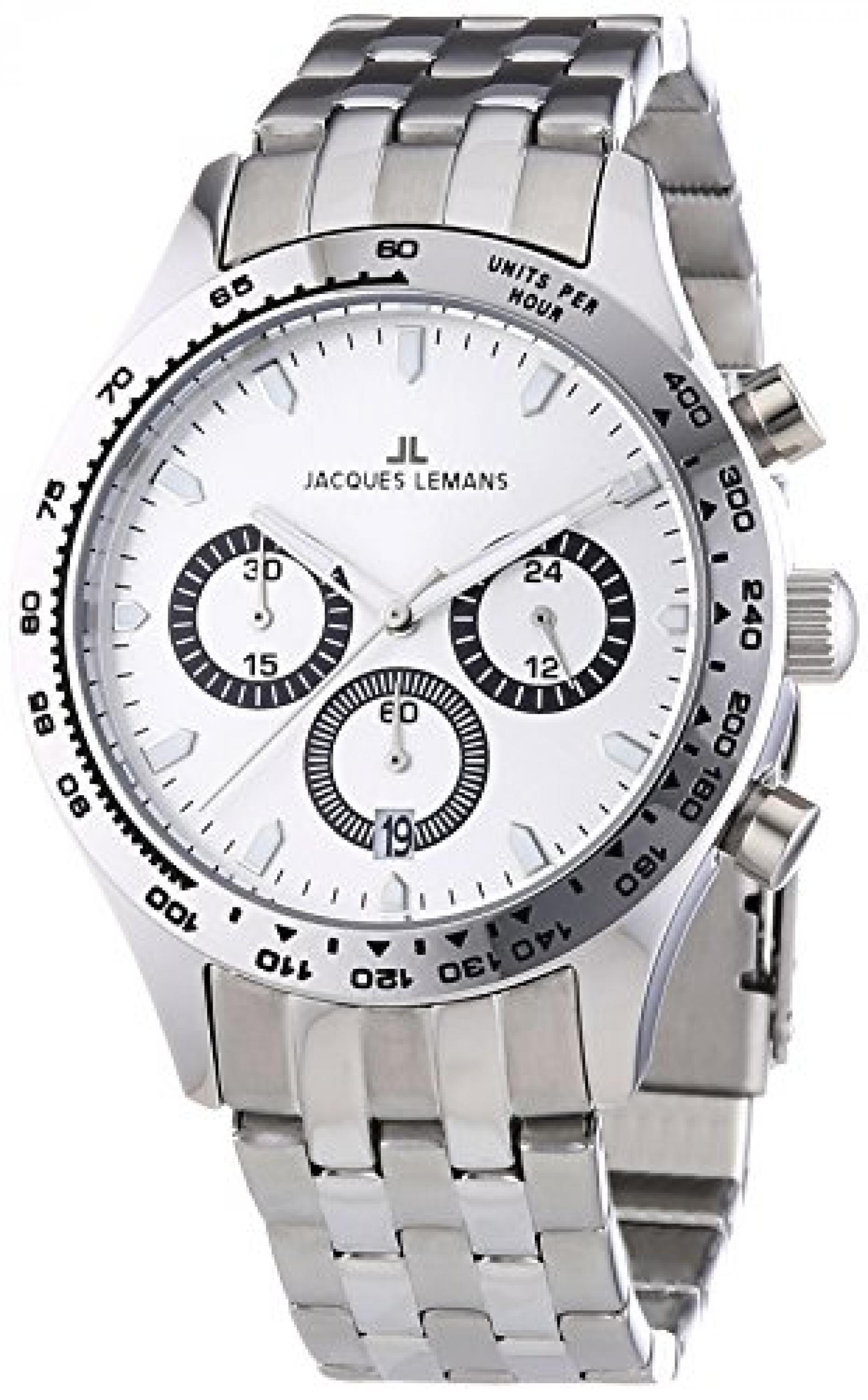 Jacques Lemans Herren-Armbanduhr XL Capri Chronograph Quarz Edelstahl 1-1329D