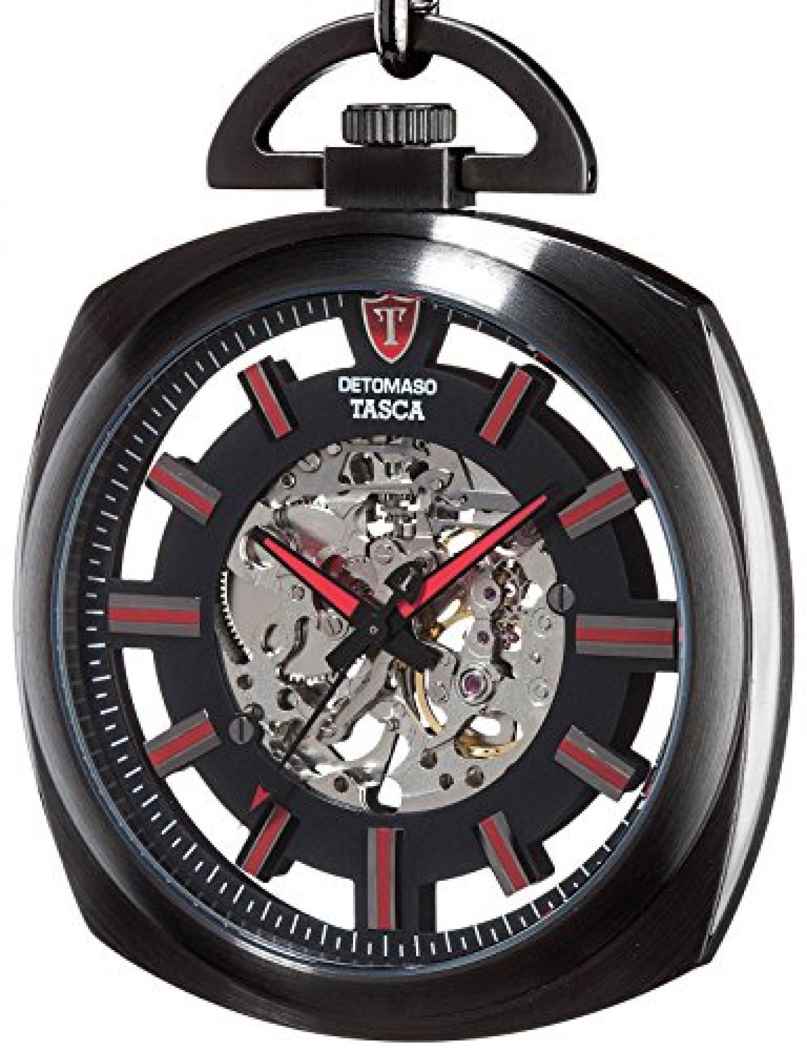 Detomaso Herren-Armbanduhr TASCA Skeleton Taschenuhr XXL Classic Analog Handaufzug DT2059-A