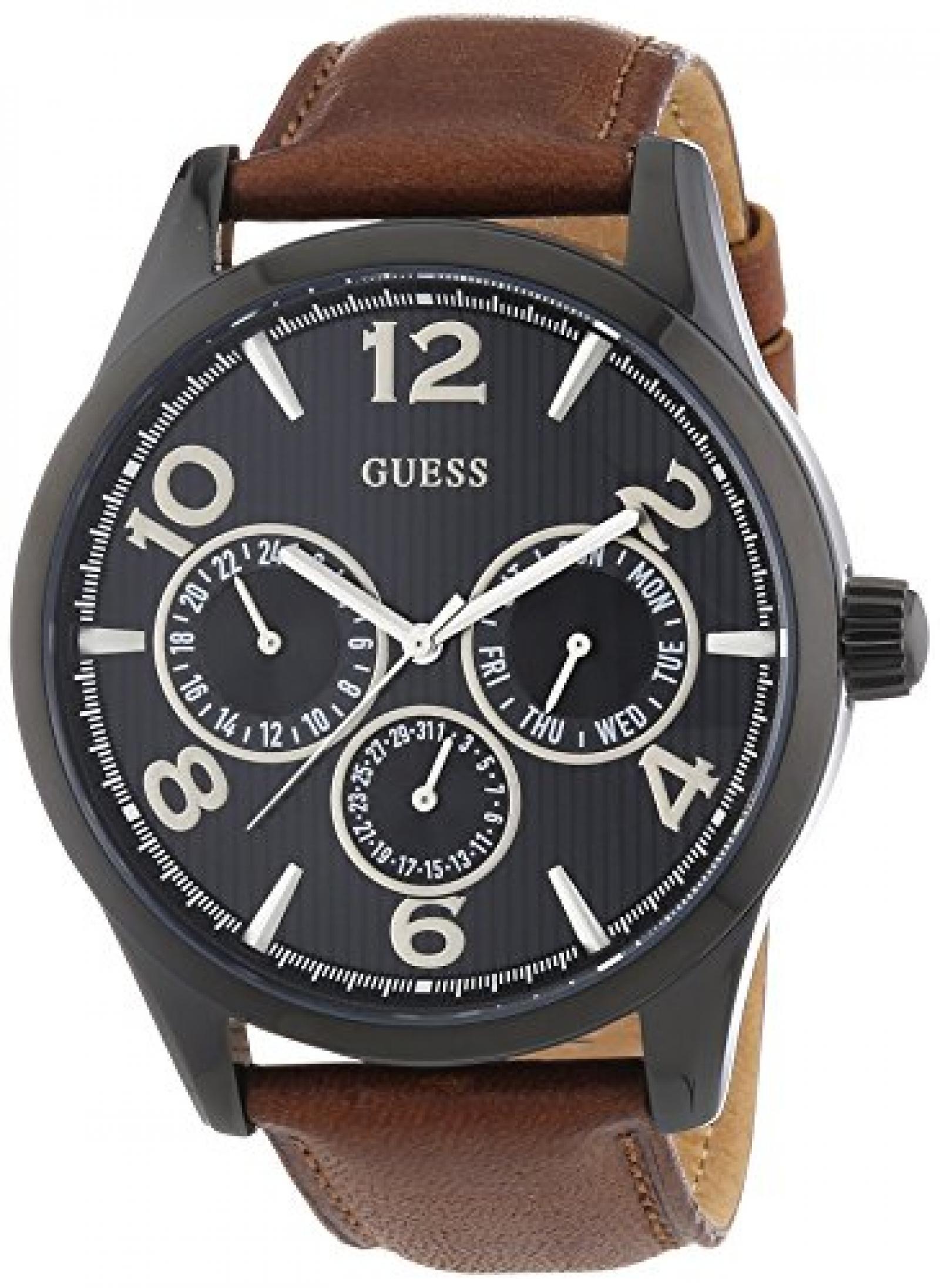Guess Herren-Armbanduhr XL Analog Quarz Leder W0493G3
