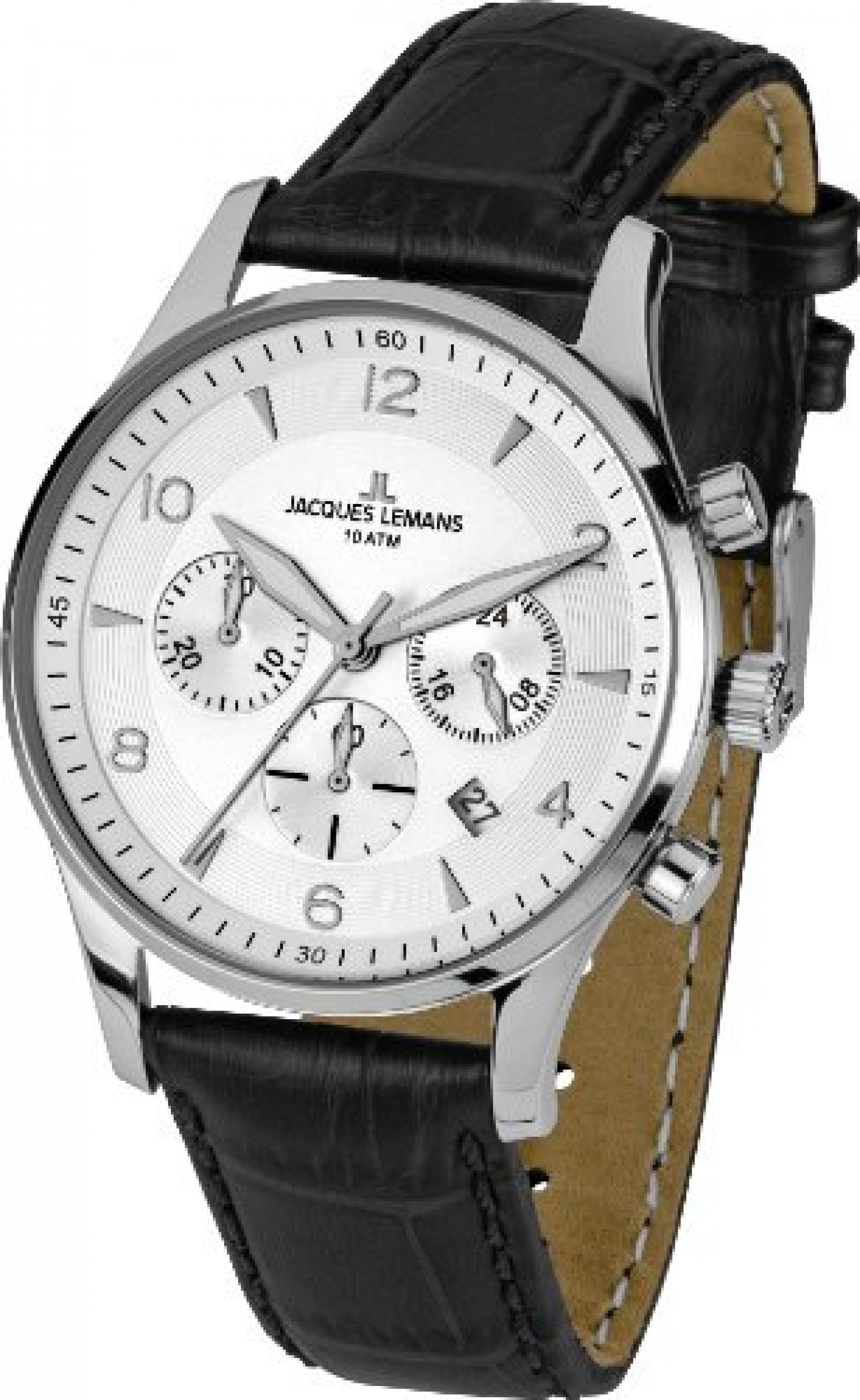 Jacques Lemans Herren-Armbanduhr XL London Chronograph Quarz Leder 1-1654B