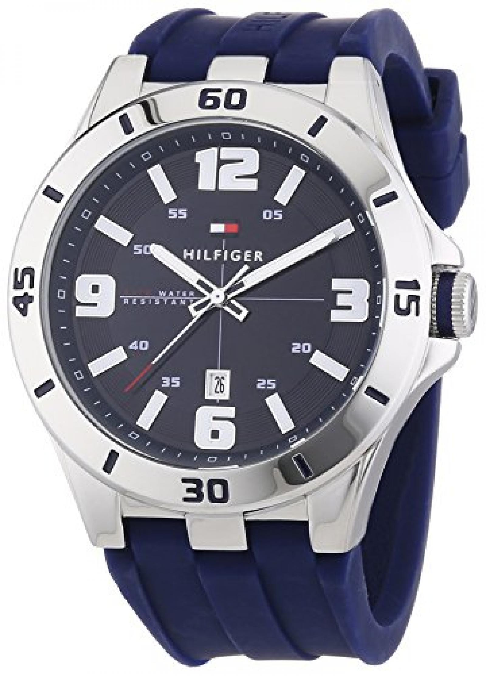 Tommy Hilfiger Watches Herren-Armbanduhr XL DREW Analog Quarz Silikon 1791062