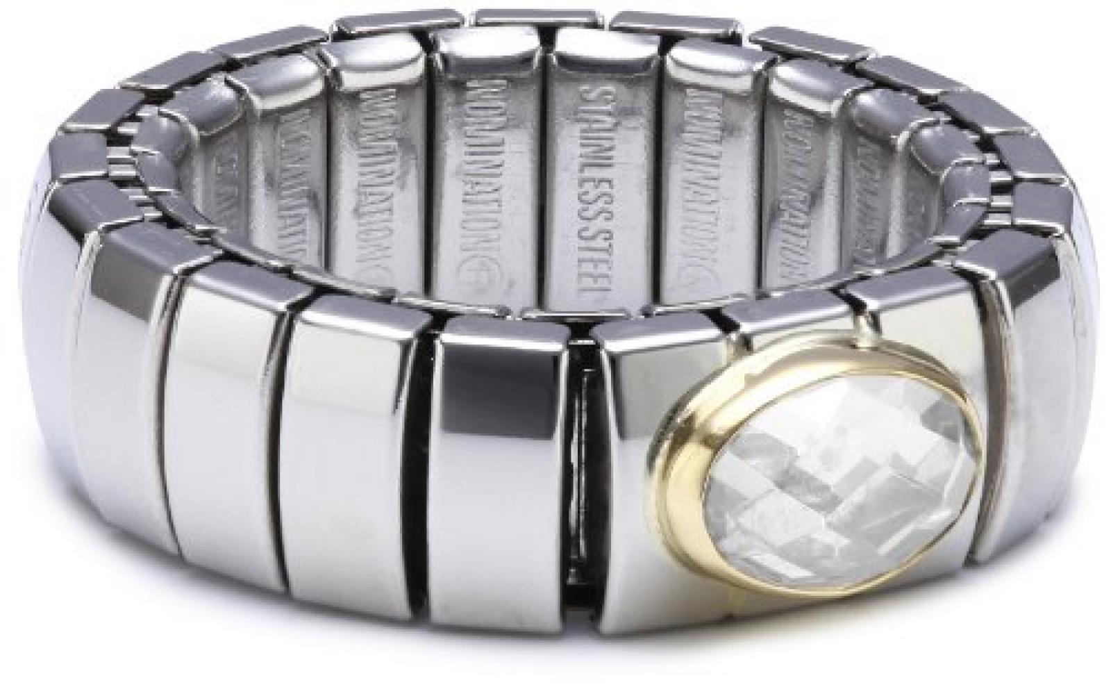 Nomination Damen-Ring Klein 18-K-Gold Mit Facettiertem Zirkon Weiß Ring größe variabel 041510/010