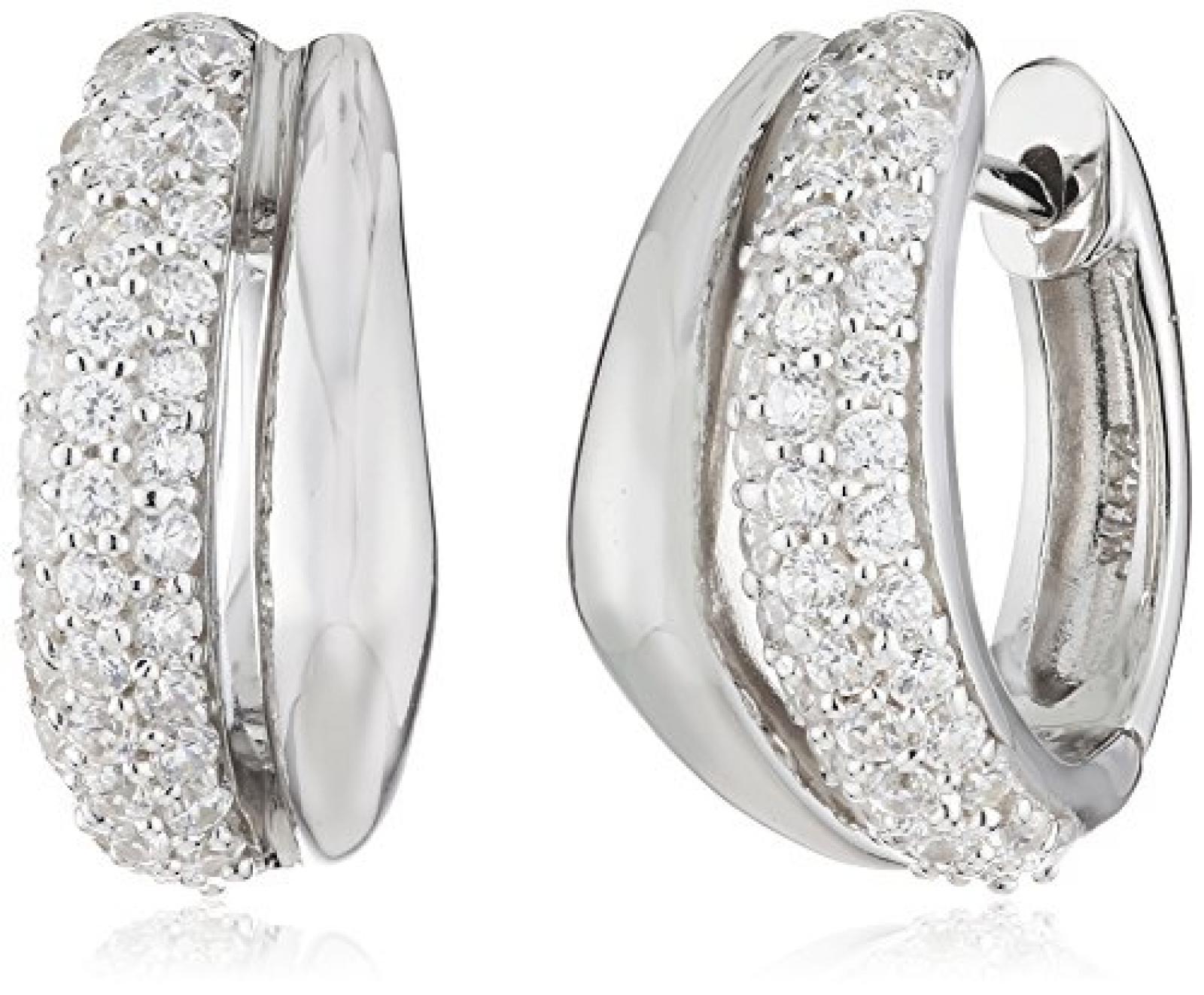 Celesta - Damenklappcreole aus 925er Sterling Silber und 74 weißen Zirkonia 16mm Durchmesser 368210001L