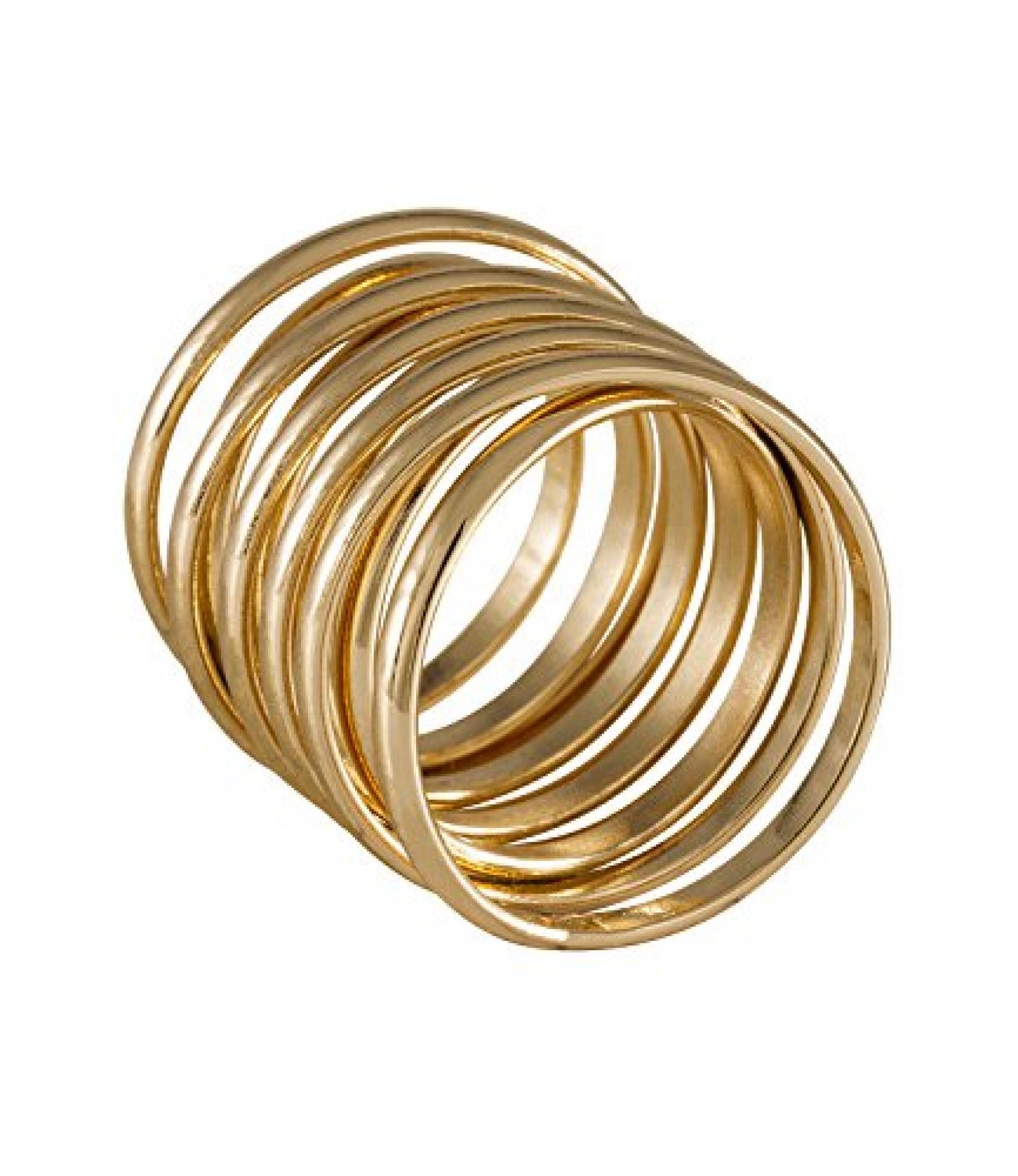 "SIX ""White Summer"" breiter, gedrehter Ring aus goldenem Metall (383-301)"