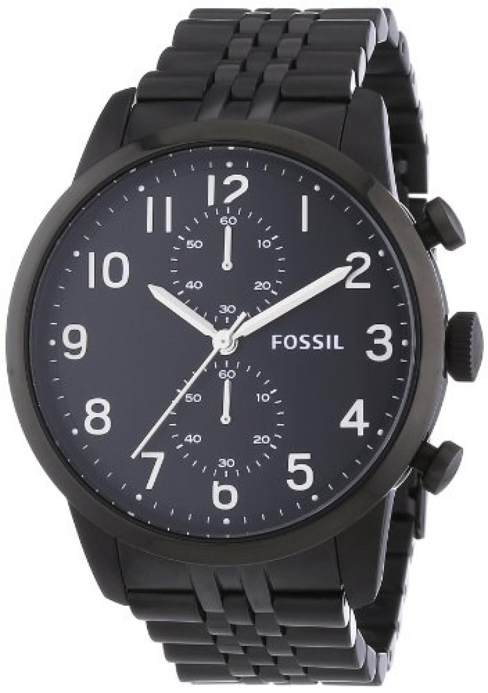 Fossil Herren-Armbanduhr XL Chronograph Quarz Edelstahl FS4877