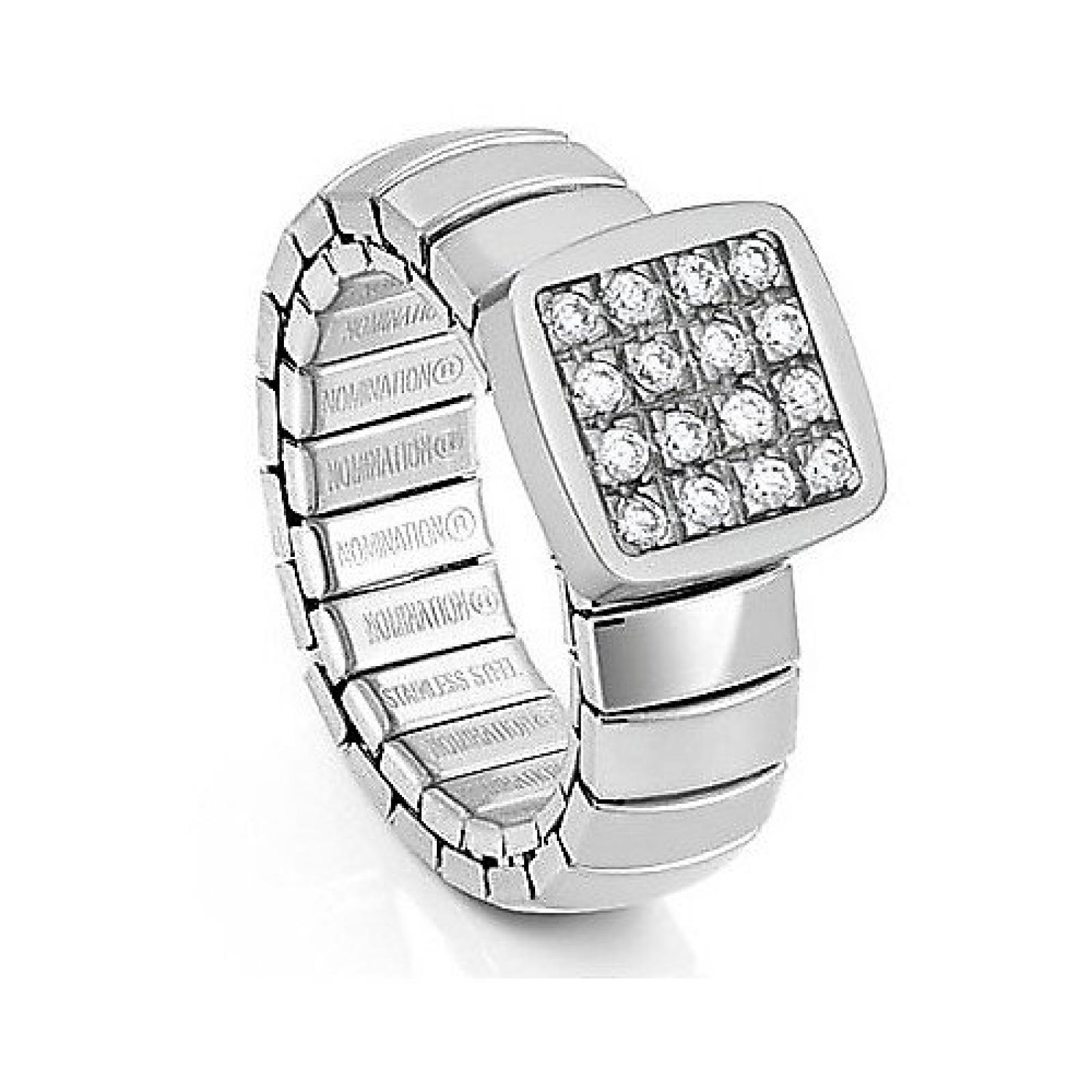 NominatioN DAMA Ring aus Edelstahl, Silber und CZ (S) (WEISS) 043600-001