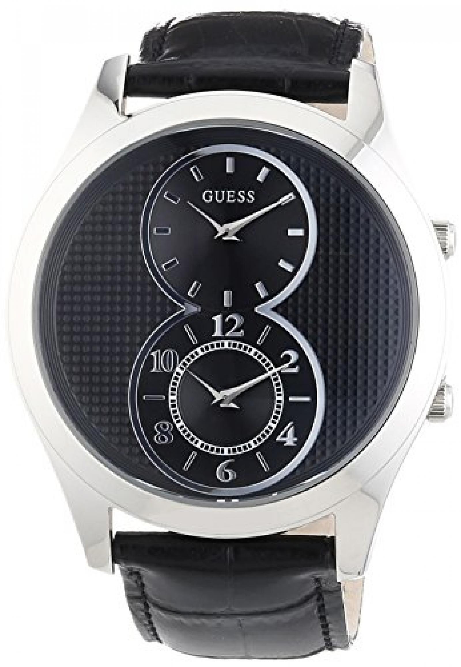 Guess Herren-Armbanduhr XL Analog Quarz Leder W0376G1