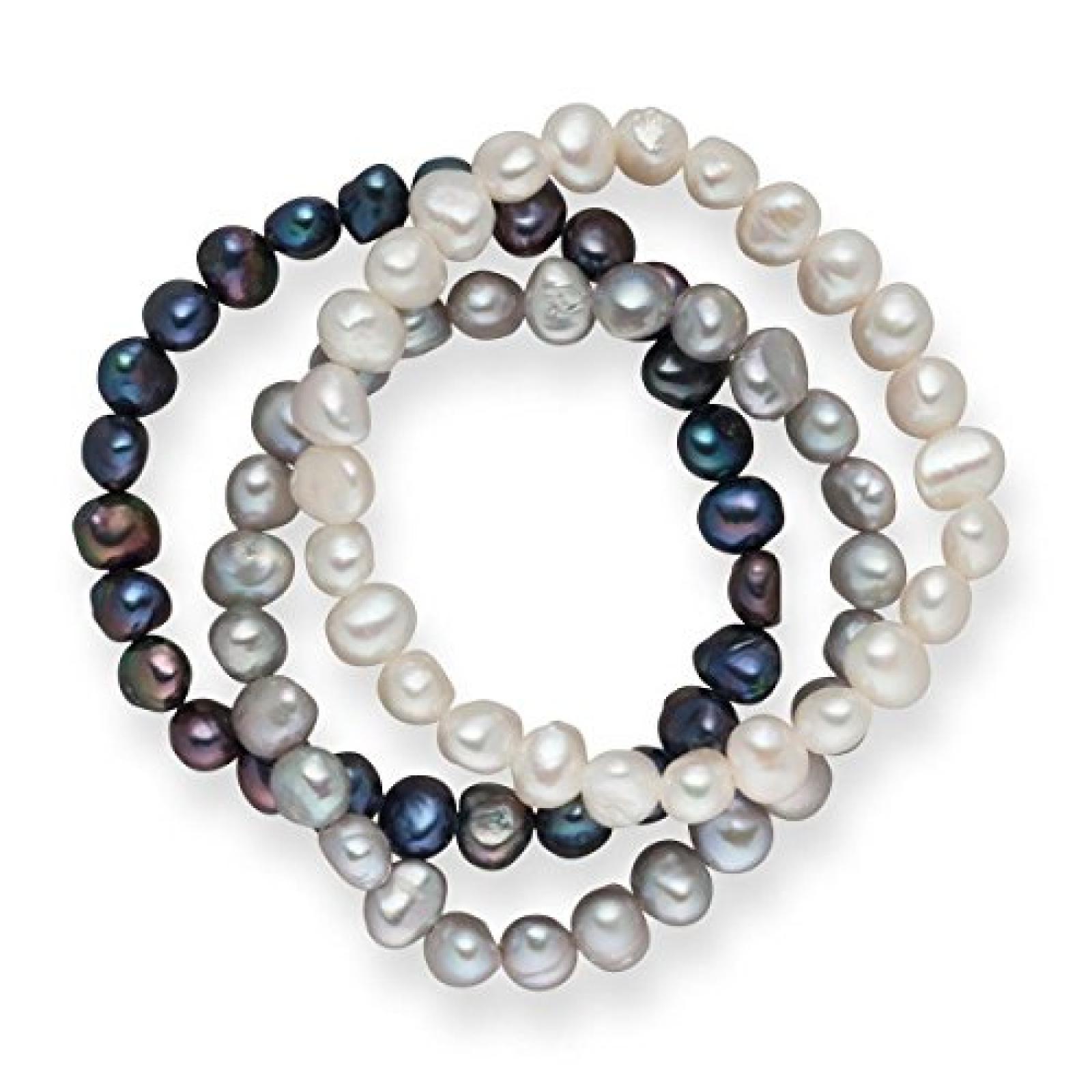 Valero Pearls 3er Set Armbänder Süßwasserzuchtperlen weiß silber dunkelblau 60201782