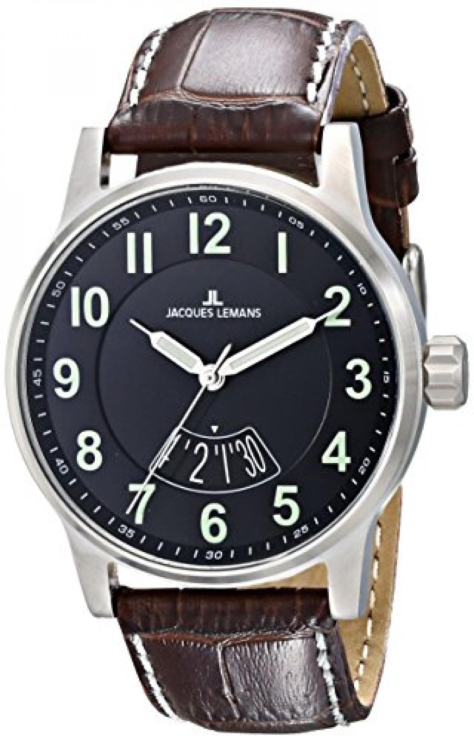 Jacques Lemans Unisex-Armbanduhr Sport Analog Quarz Leder 1-1729H