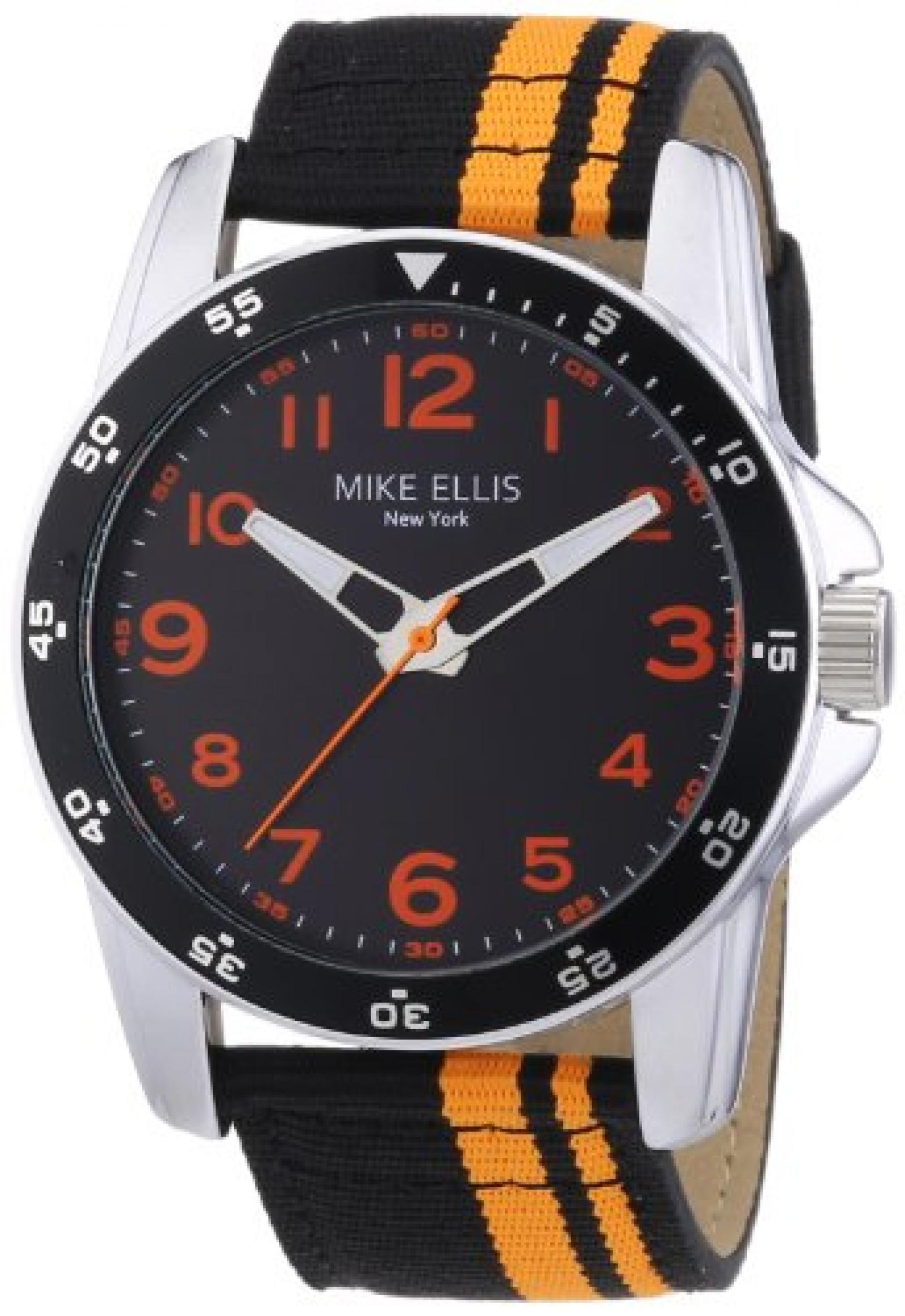 Mike Ellis New York Herren-Armbanduhr XL Analog Quarz Textil M3145/3