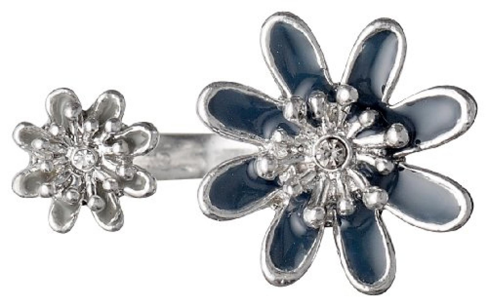 Pilgrim Jewelry Damen-Ring Messing Pilgrim Damen-Ring aus der Serie Flower Rosa versilbert,blau  1.8 cm 241336204