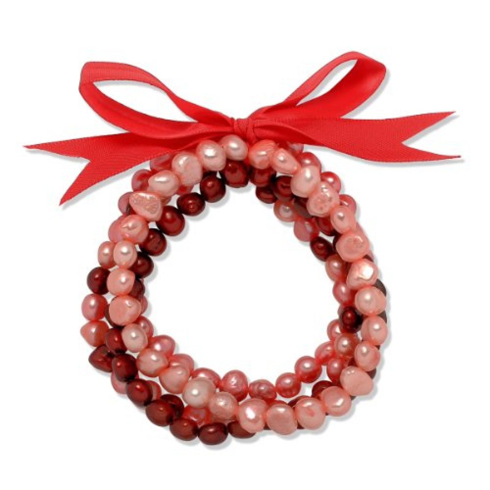 Valero Pearls Fashion Collection Damen-Armband Hochwertige Süßwasser-Zuchtperlen in ca.  5 mm Oval rosa / pink / purple  Satin rot  19 cm   60020088