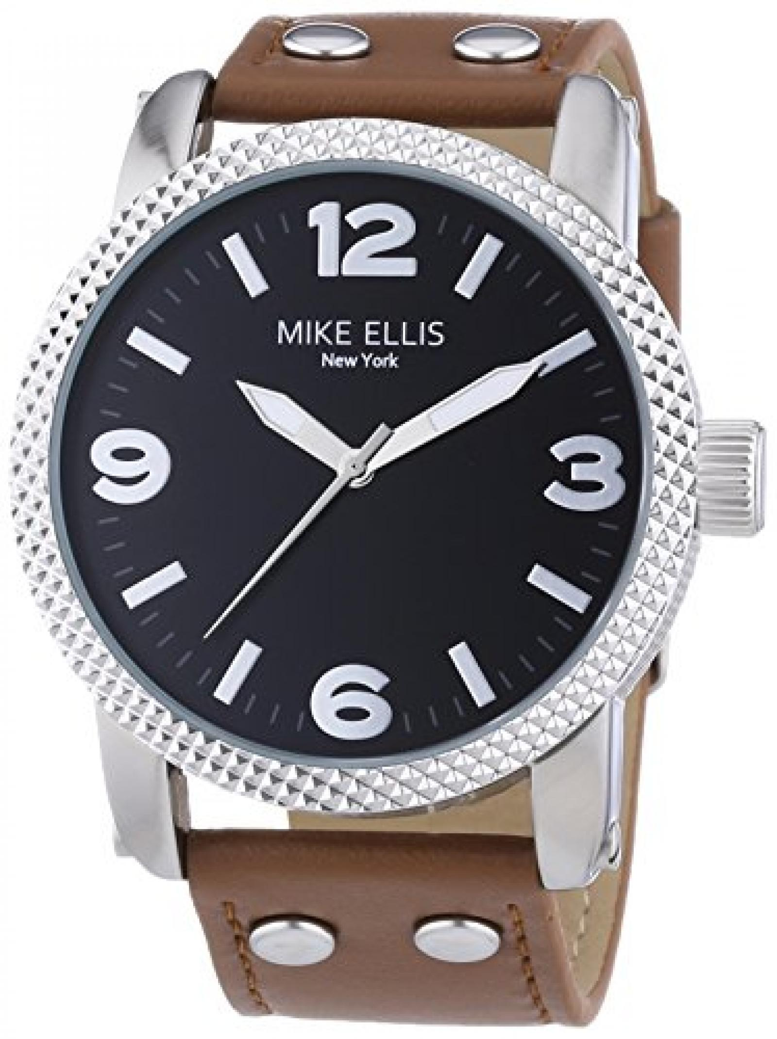 Mike Ellis New York Herren-Armbanduhr XL a:ne Analog Quarz Leder SL4316/3