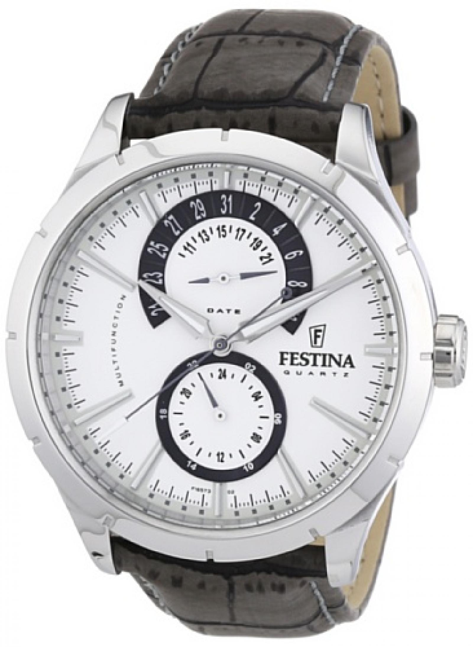 Festina Herren-Armbanduhr XL Analog Quarz Leder F16573/2