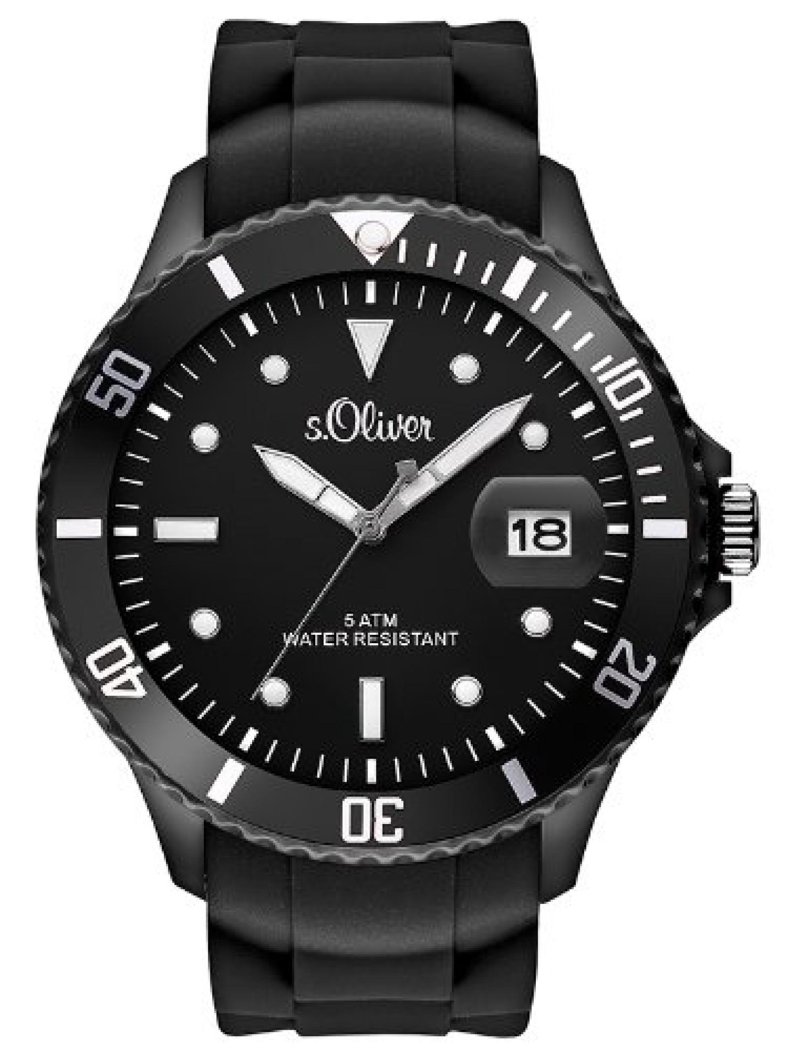 s.Oliver Herren-Armbanduhr XL Analog Quarz Silikon SO-2677-PQ