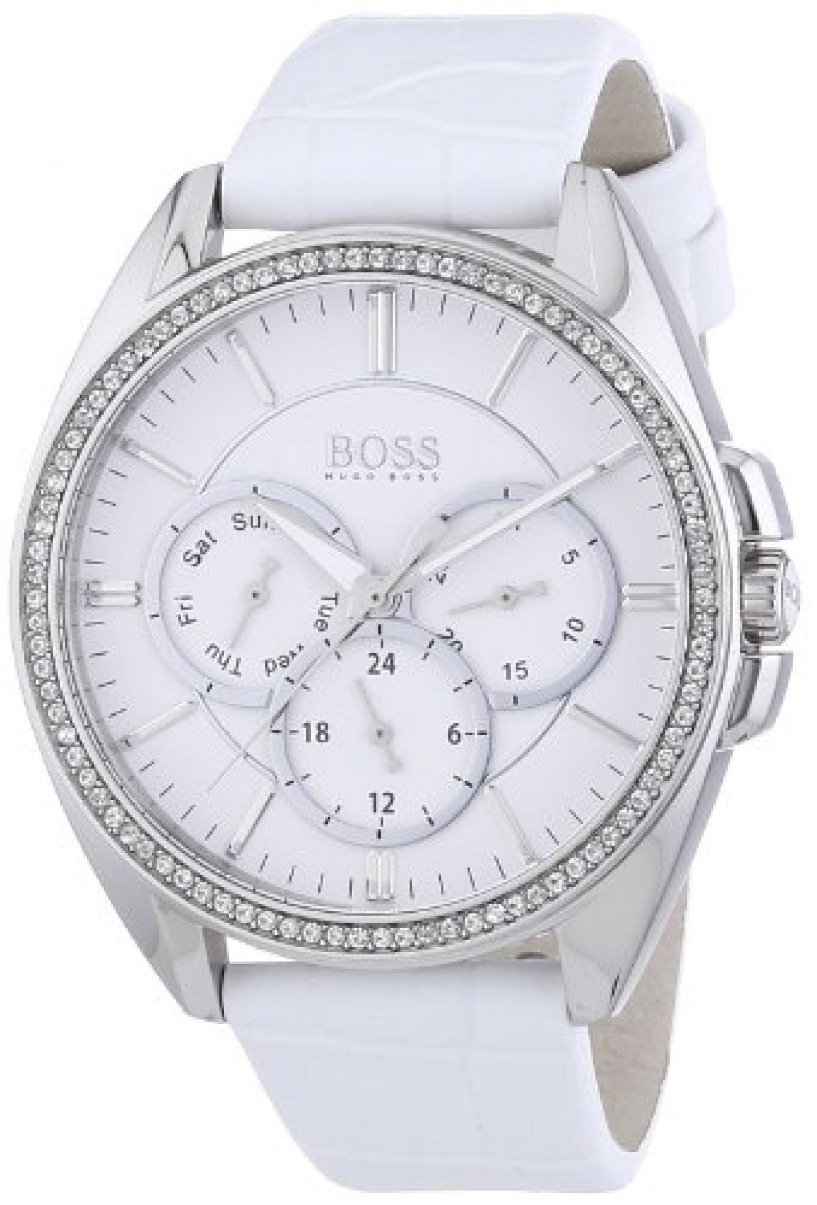 Hugo Boss Damen-Armbanduhr Chronograph Quarz Leder 1502361