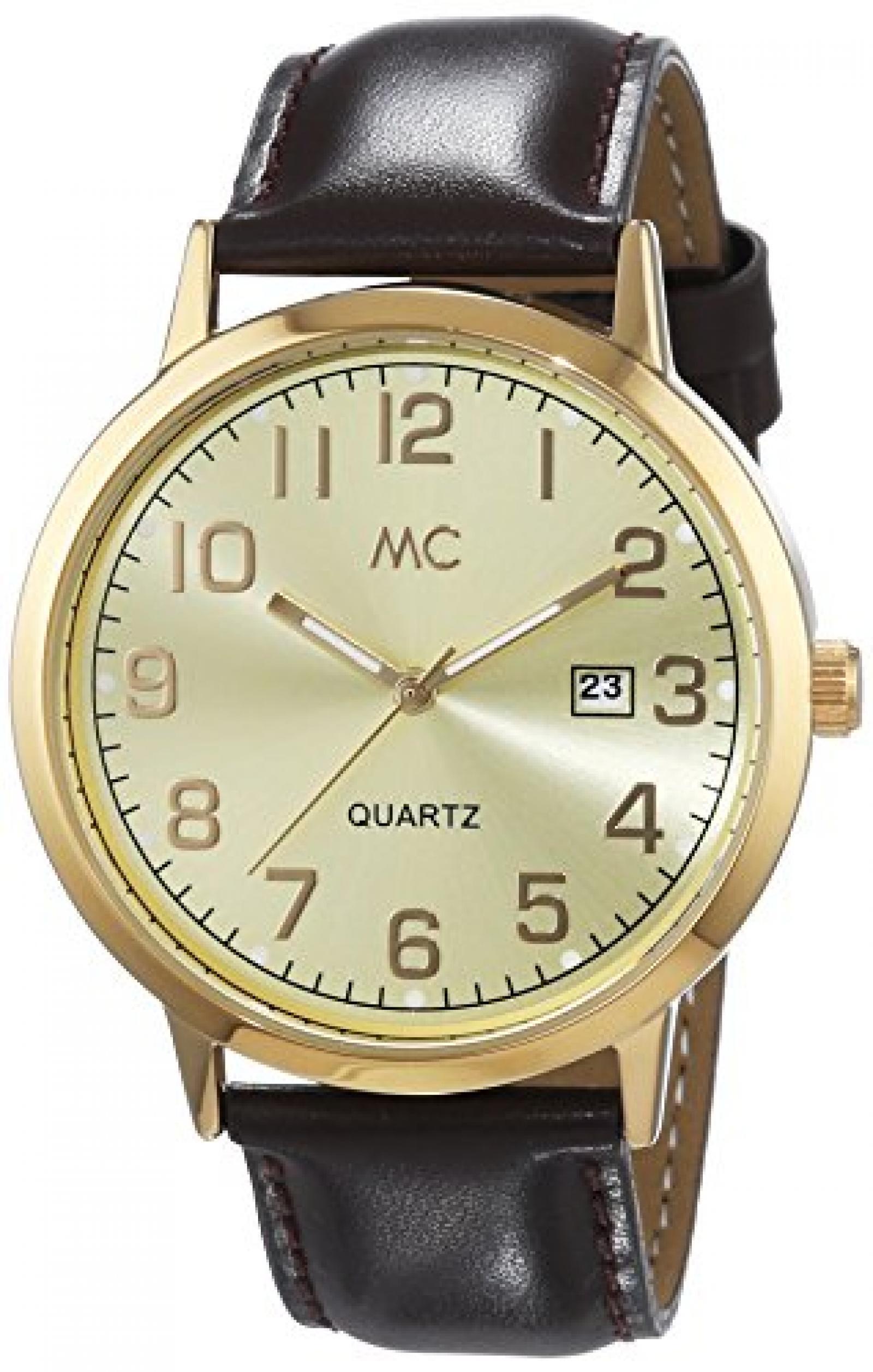 MC Timetrend Herren-Armbanduhr XL Analog Quarz Leder 27463