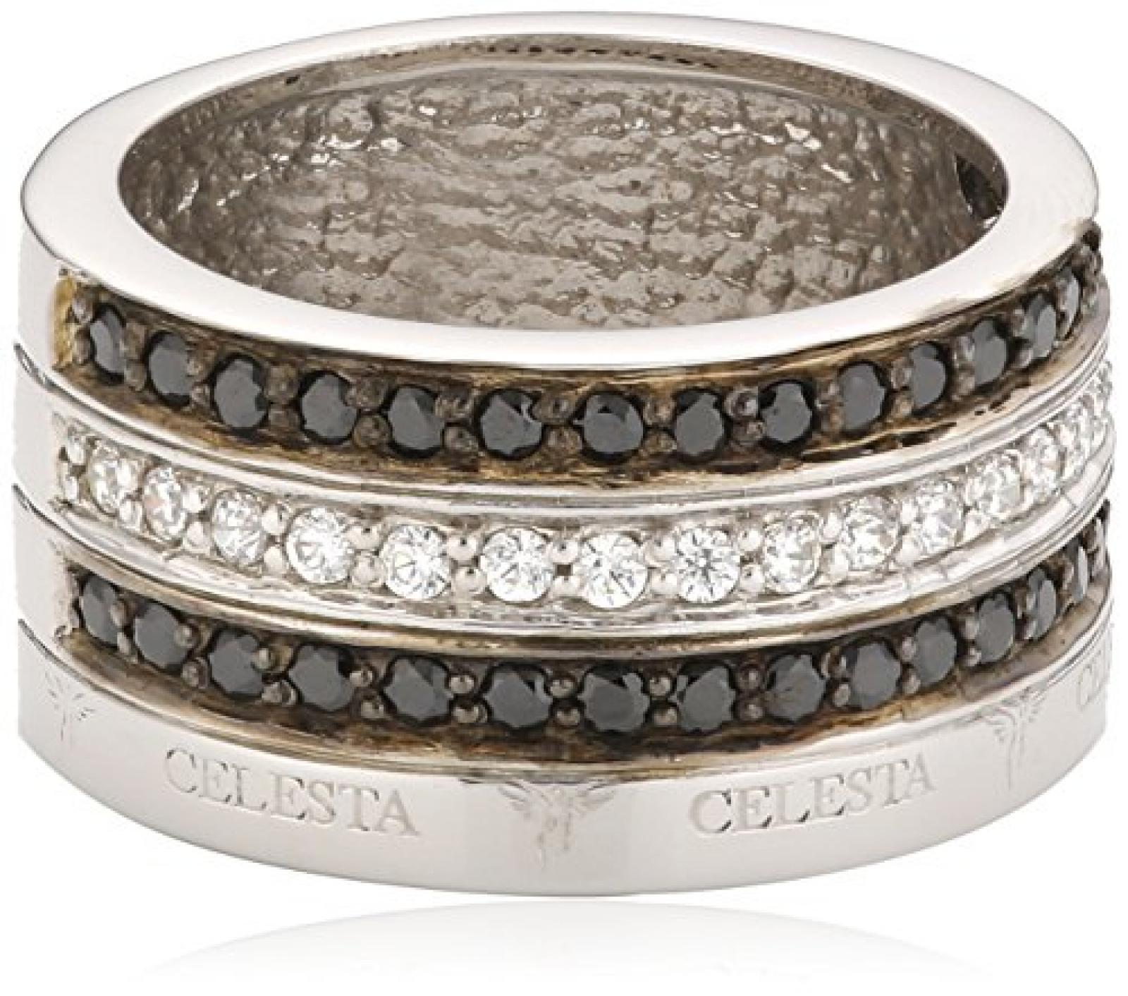 Celesta Damen-Ring 925 Sterlingsilber Zirkonia schwarz und weiß Gr. 60 (19.1) 273270753060