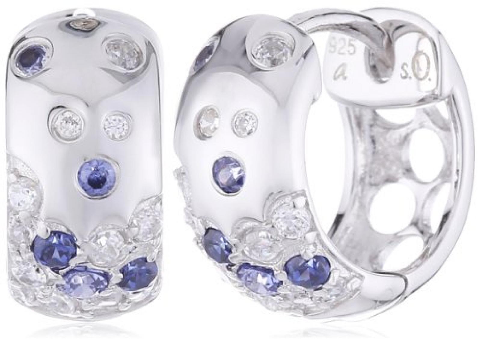 s.Oliver Damen-Ohrstecker 925 Sterling Silber 12 mm mehrfarbig 442695