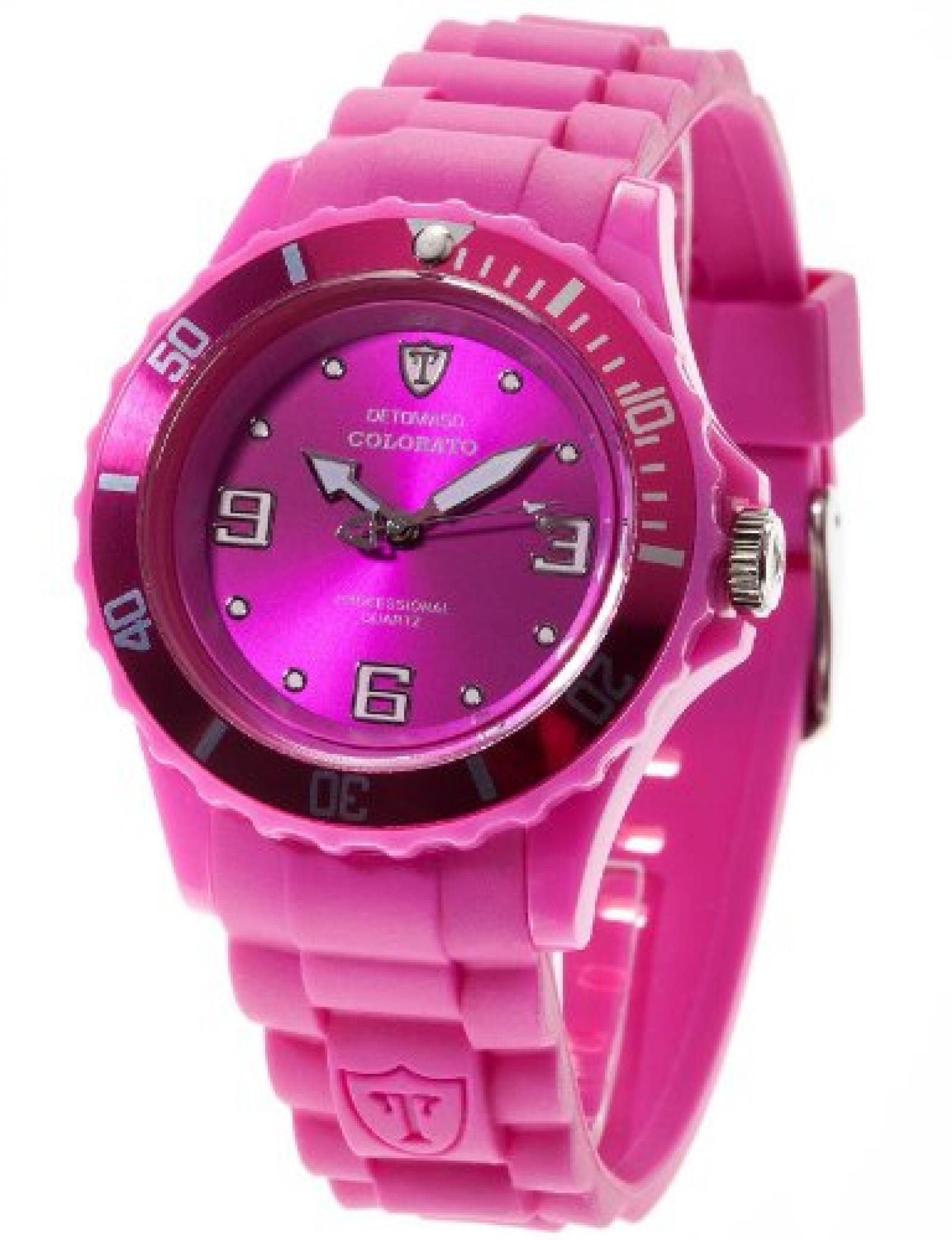 DeTomaso  Damen-Armbanduhr COLORATO Purple Analog Quarz Silikon DT3007-J