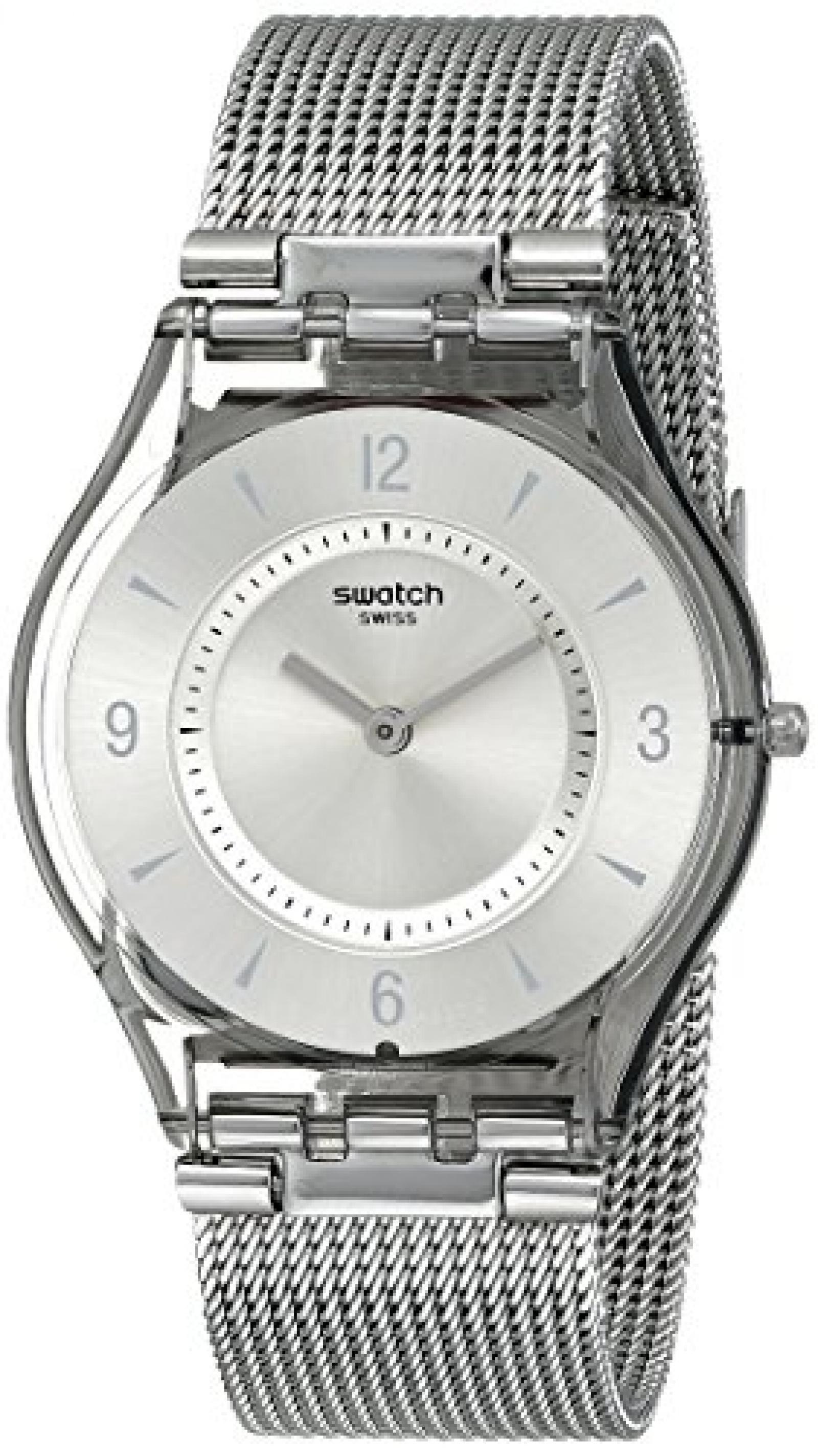 Swatch Damen-Armbanduhr XS Metal Knit Analog Quarz Edelstahl SFM118M