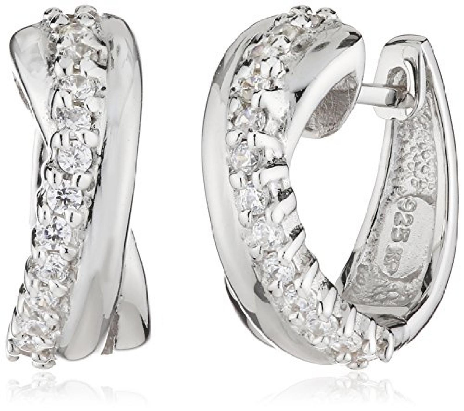 Celesta Damen-Creolen 925/- Sterling Silber, Zirkonia Weiß, 360210153