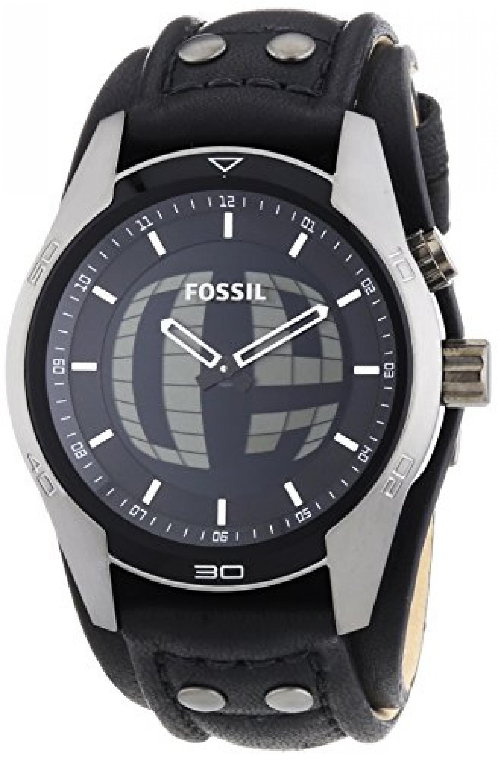 Fossil Herren-Armbanduhr XL Coachman Analog - Digital Quarz Leder JR1472
