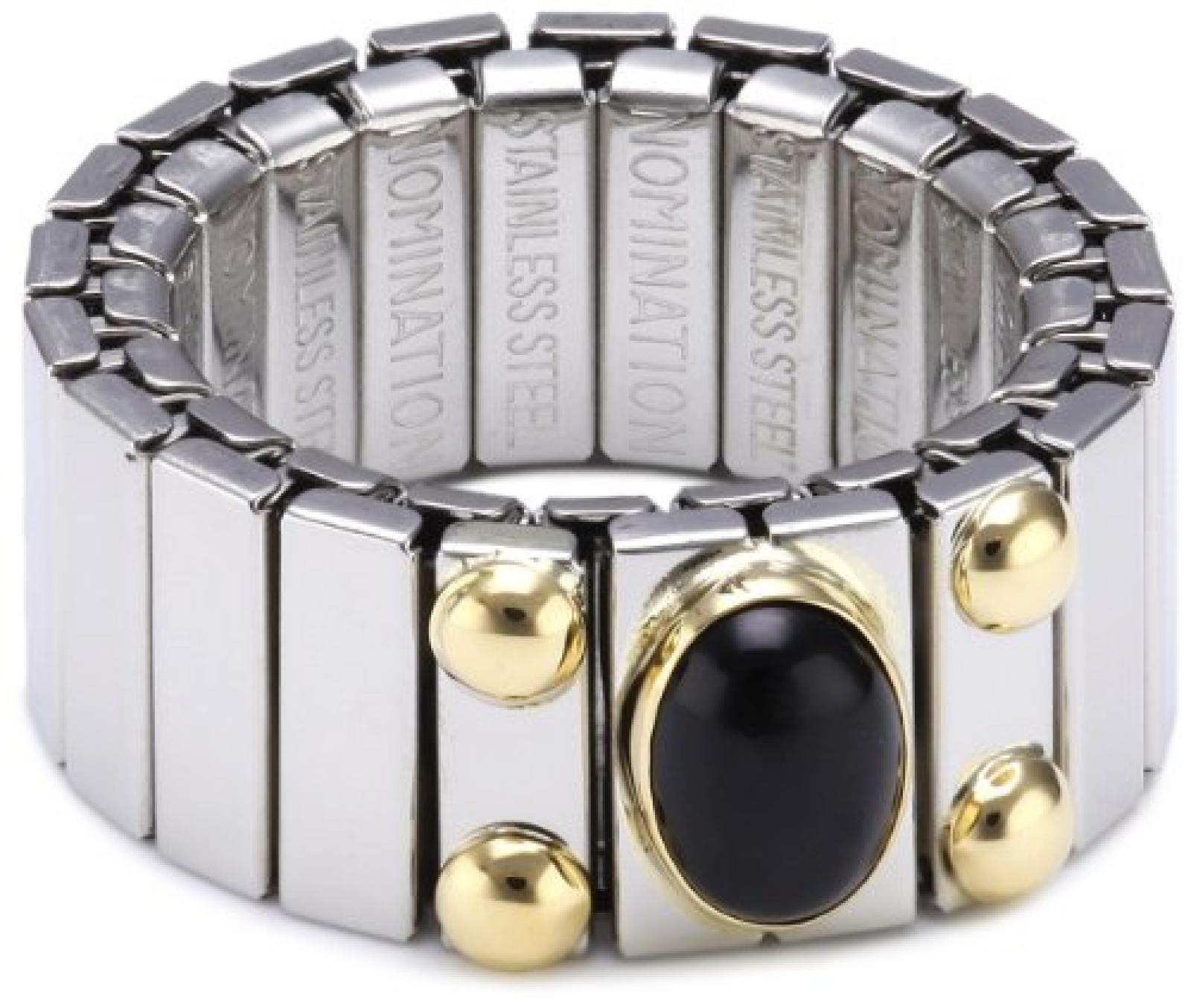 Nomination Damen-Ring Mittel Mit 1 in Achat Schwarz Ring größe variabel 040120/002
