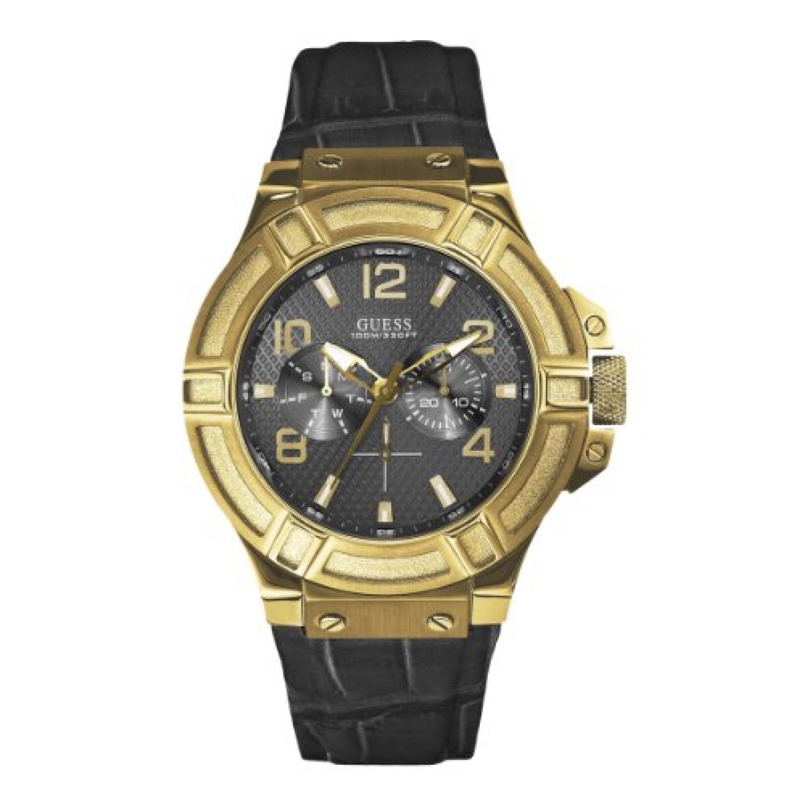 Guess Herren-Armbanduhr XL Mens Sport Analog Quarz Leder W0040G4