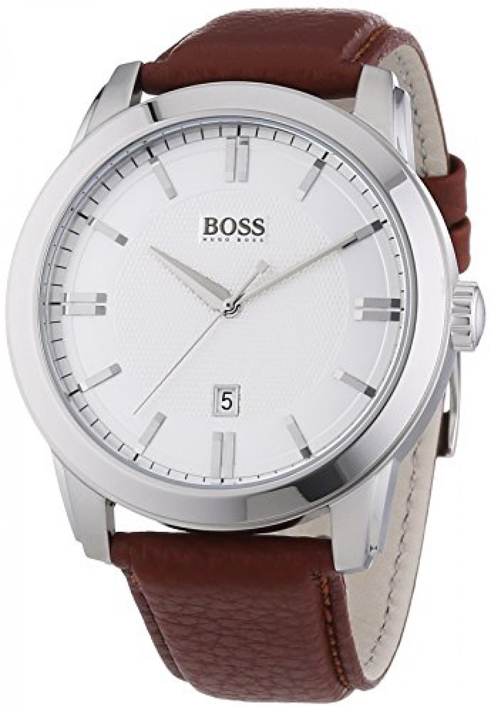 Hugo Boss Herren-Armbanduhr XL HB-1004 Analog Quarz Leder 1513017
