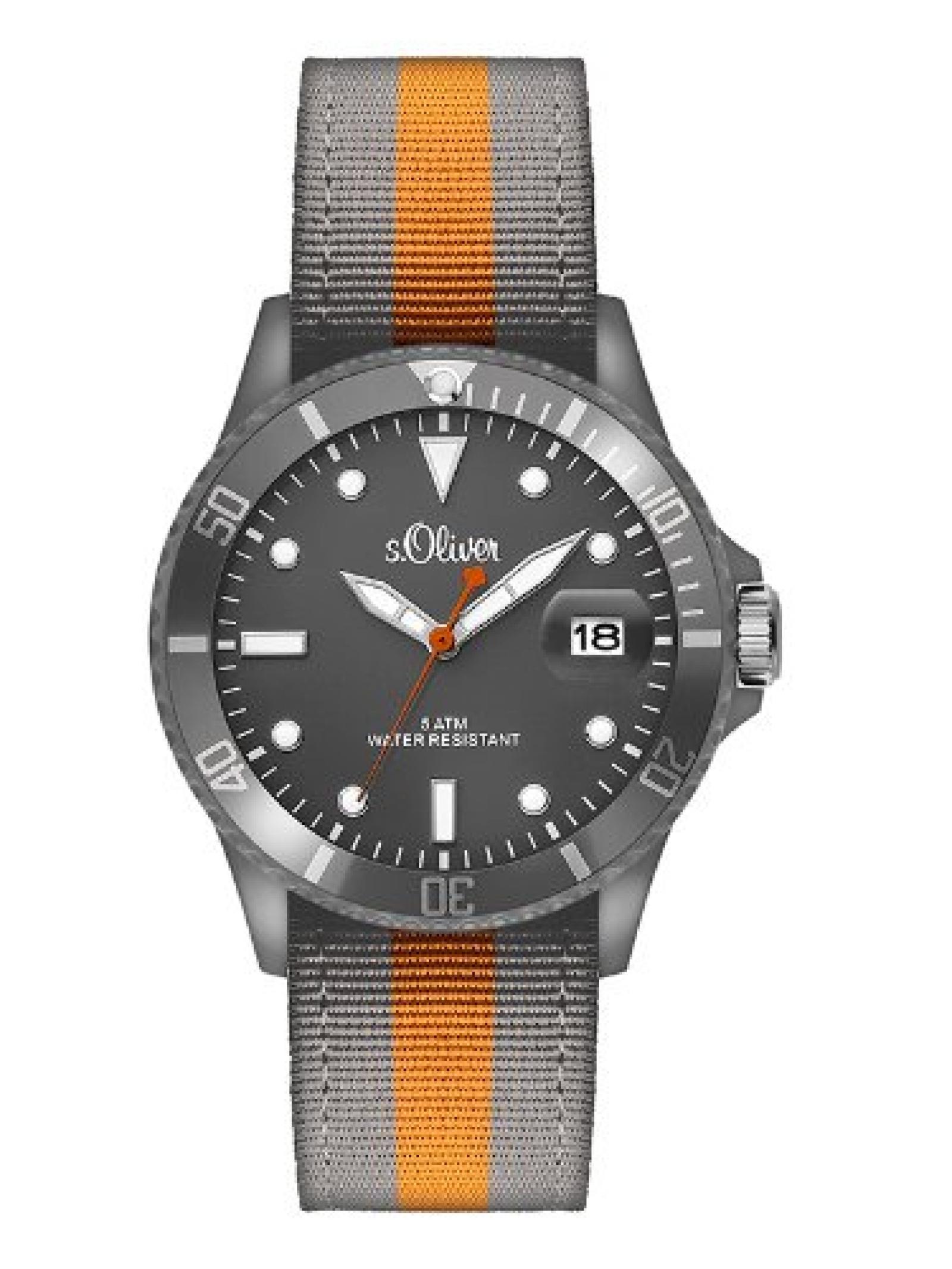 s.Oliver Herren-Armbanduhr XL Analog Quarz Textil SO-2689-LQ