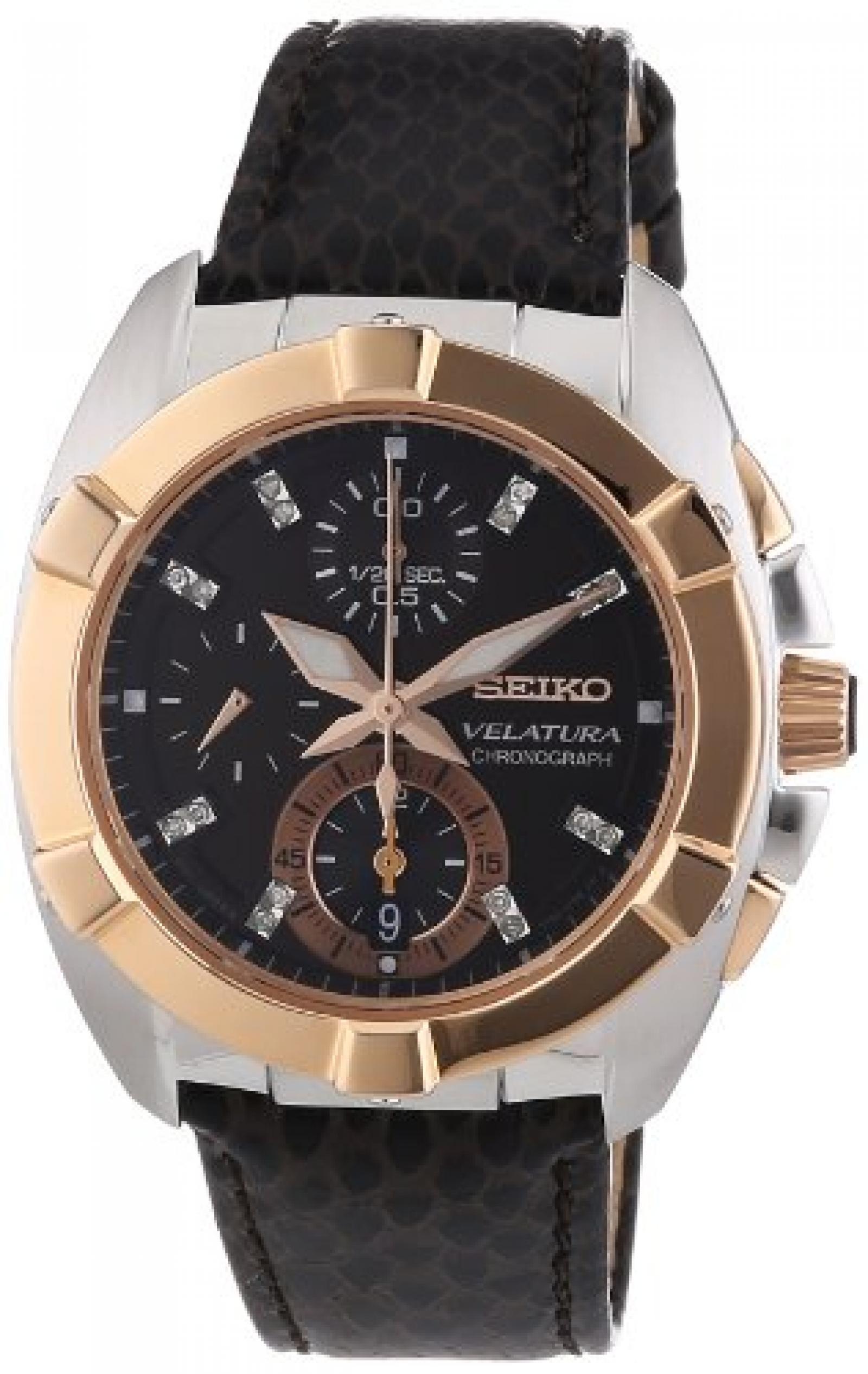 Seiko Damen-Armbanduhr Velatura Chronograph Quarz Leder SNDZ20P1