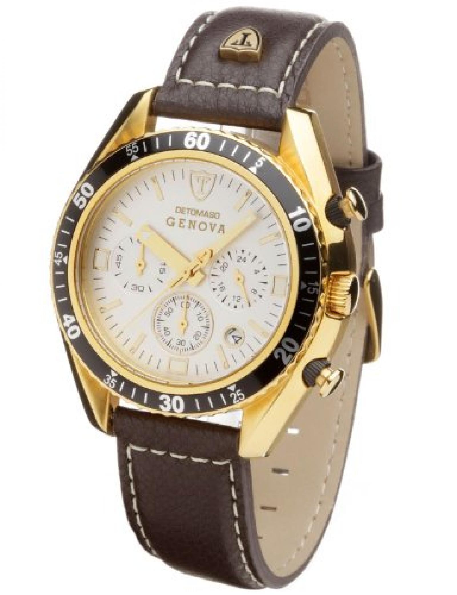 DETOMASO Herrenuhr GENOVA Chronograph vergoldet/weiß SL1592C-CH-G